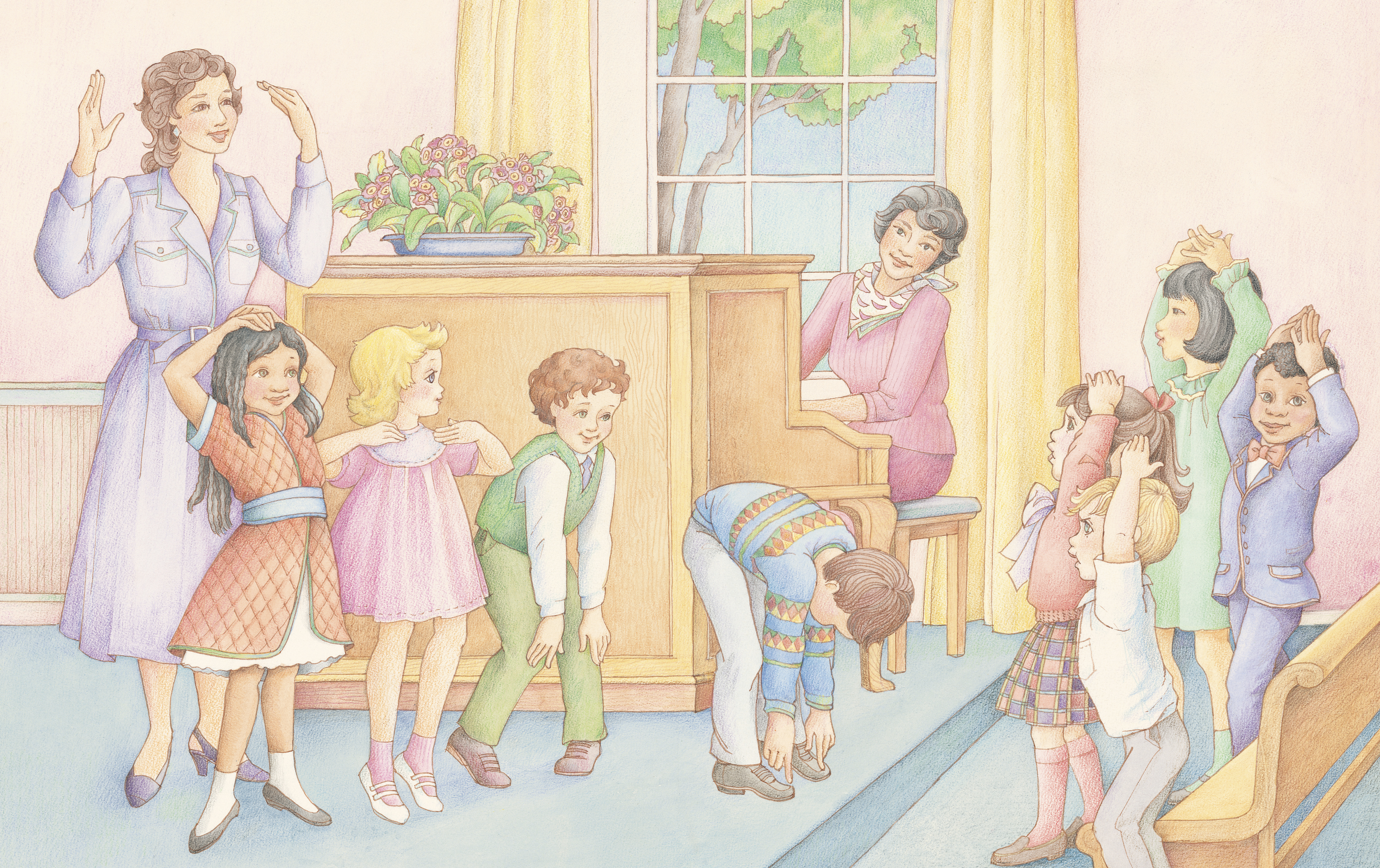 """A group of Primary children singing a song and doing the motions together. From the section """"Fun and Activity"""" in the Children's Songbook, pages 250–251; watercolor illustration by Phyllis Luch."""