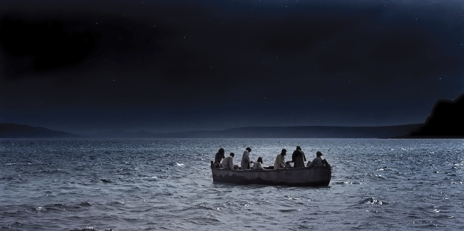 Simon Peter and other disciples go fishing and catch nothing the first night.