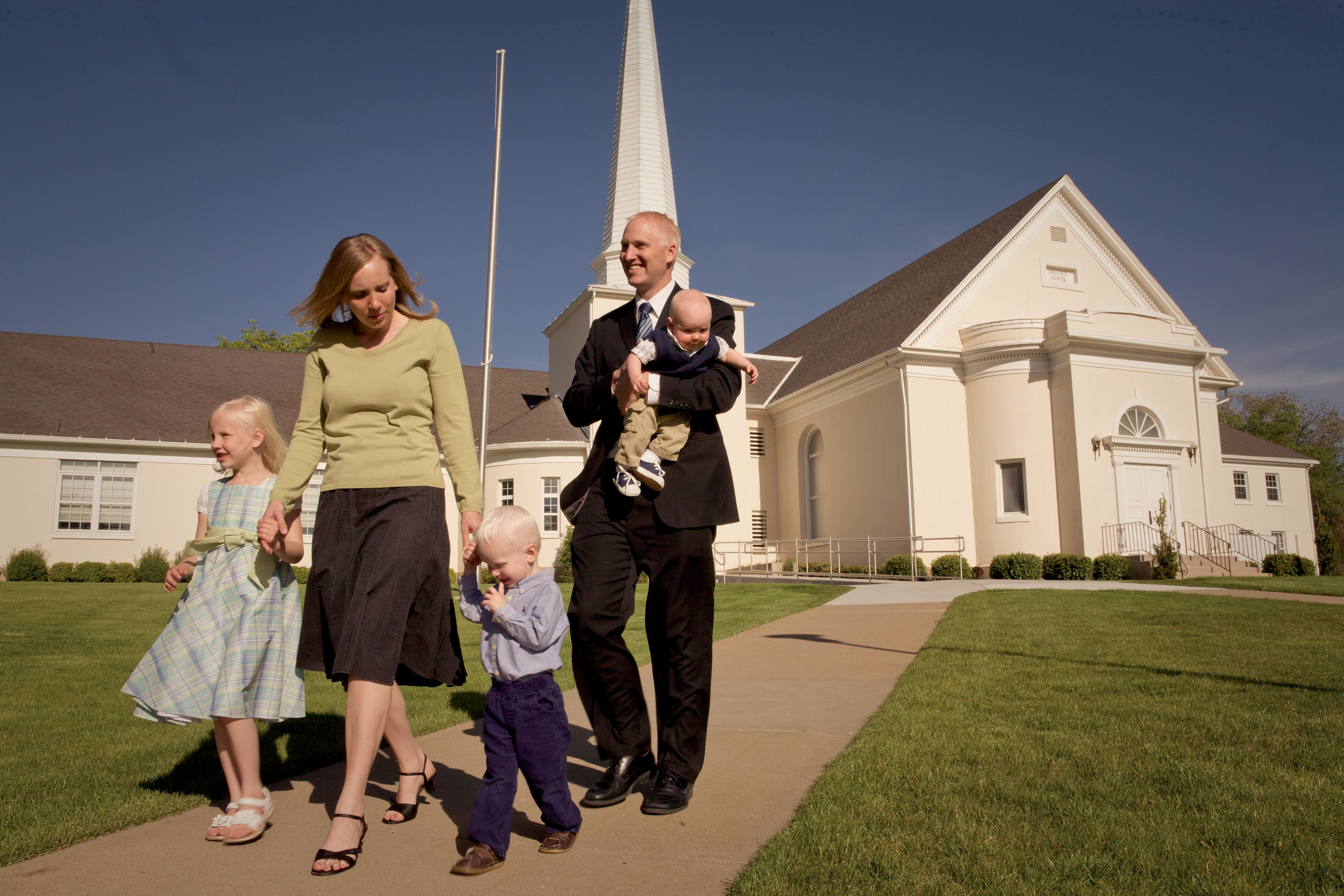 A family attending church together.