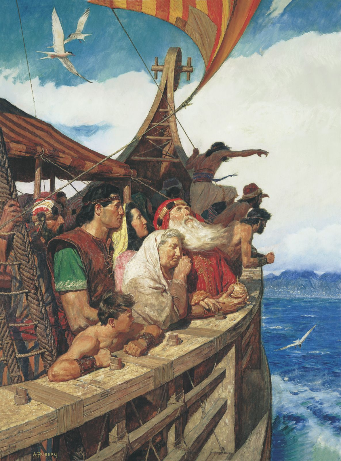 Lehi and his family from the Book of Mormon sail to the promised land