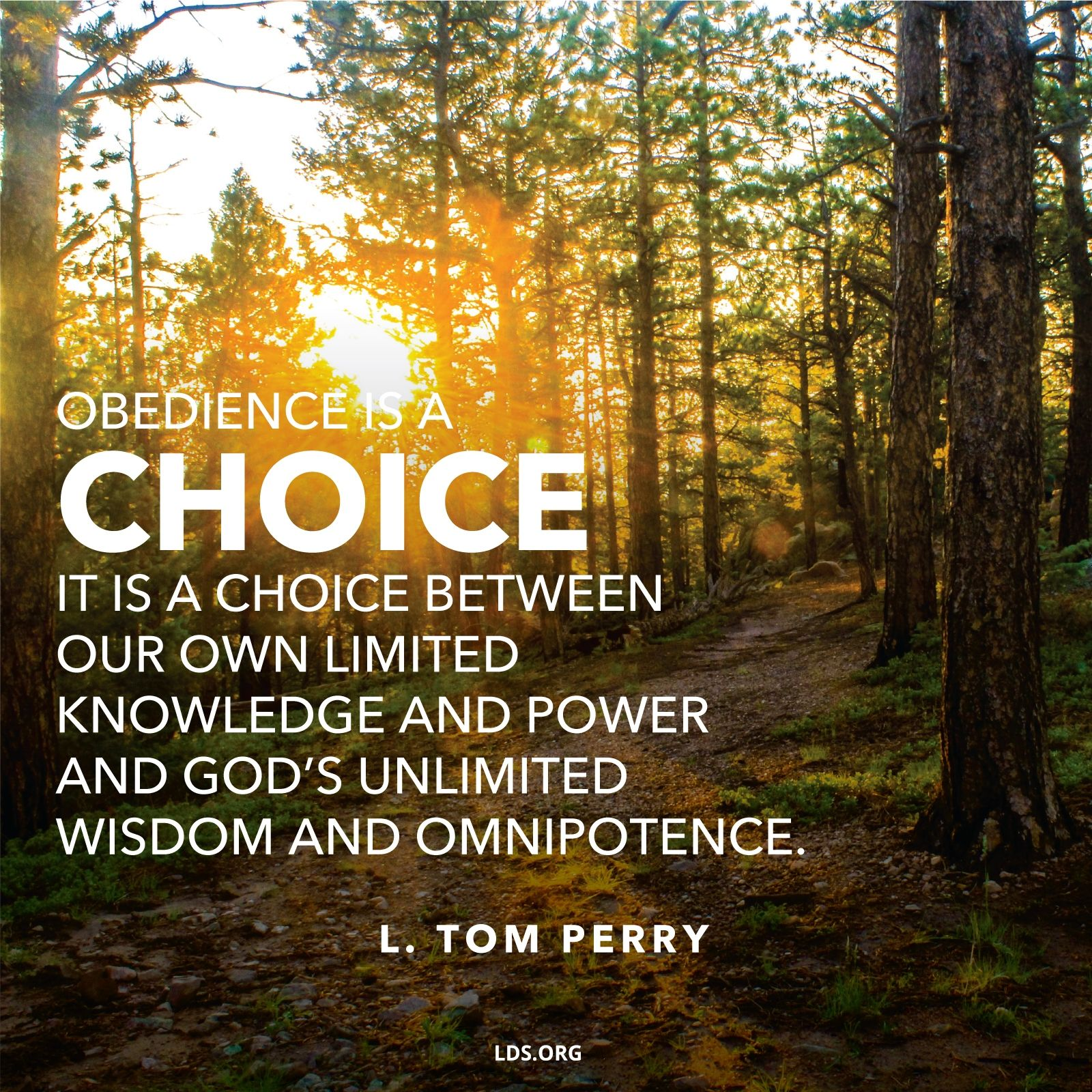 """""""Obedience is a choice. It is between our own limited knowledge and power and God's unlimited wisdom and omnipotence.""""—Elder L. Tom Perry, """"Obedience through Our Faithfulness"""""""