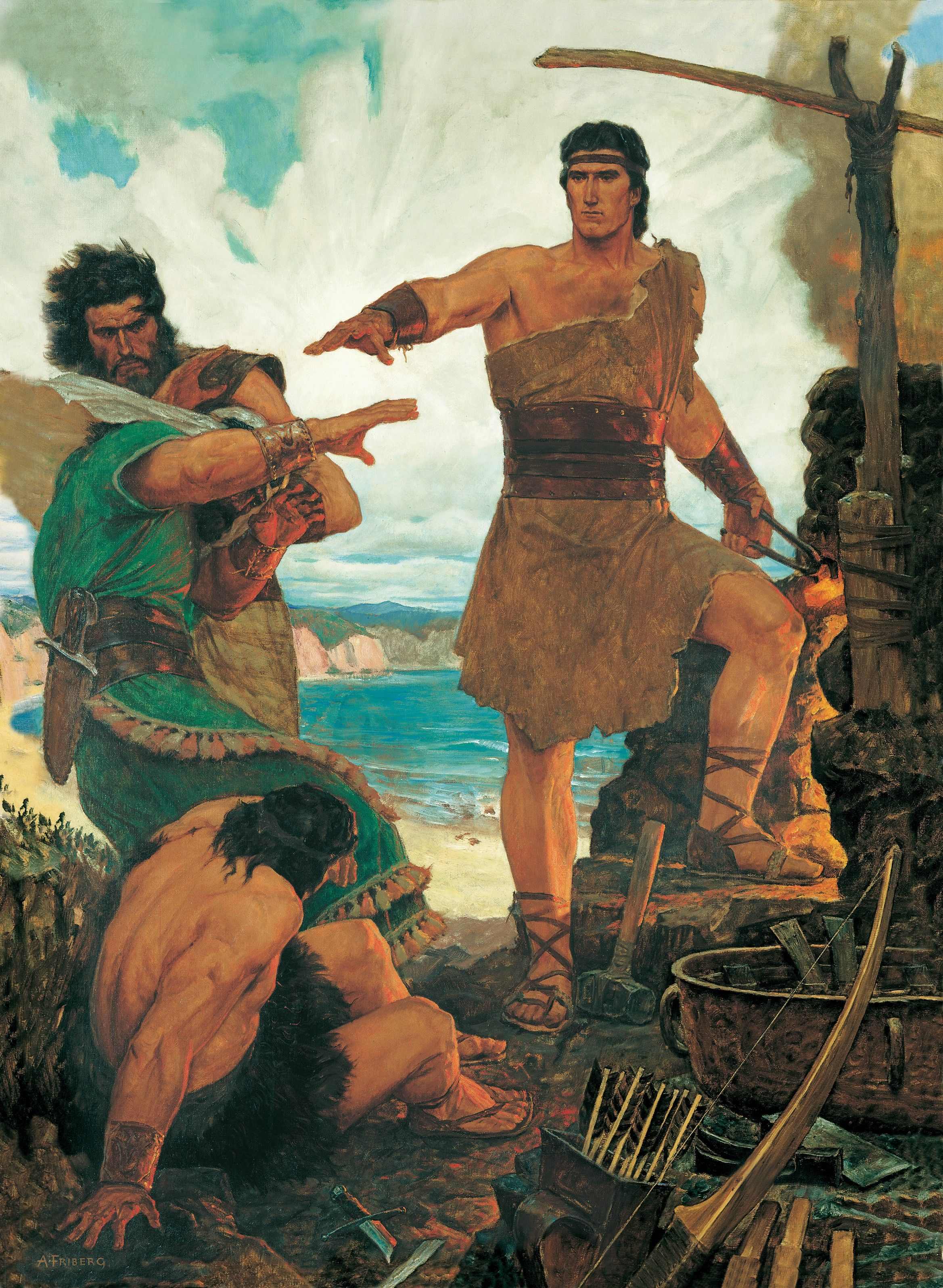 Nephi Subdues His Rebellious Brothers (Nephi Rebuking His Rebellious Brothers), by Arnold Friberg (62044); GAK 303; GAB 70; Primary manual 3-37; Primary manual 4-18; 1 Nephi 17:15–55