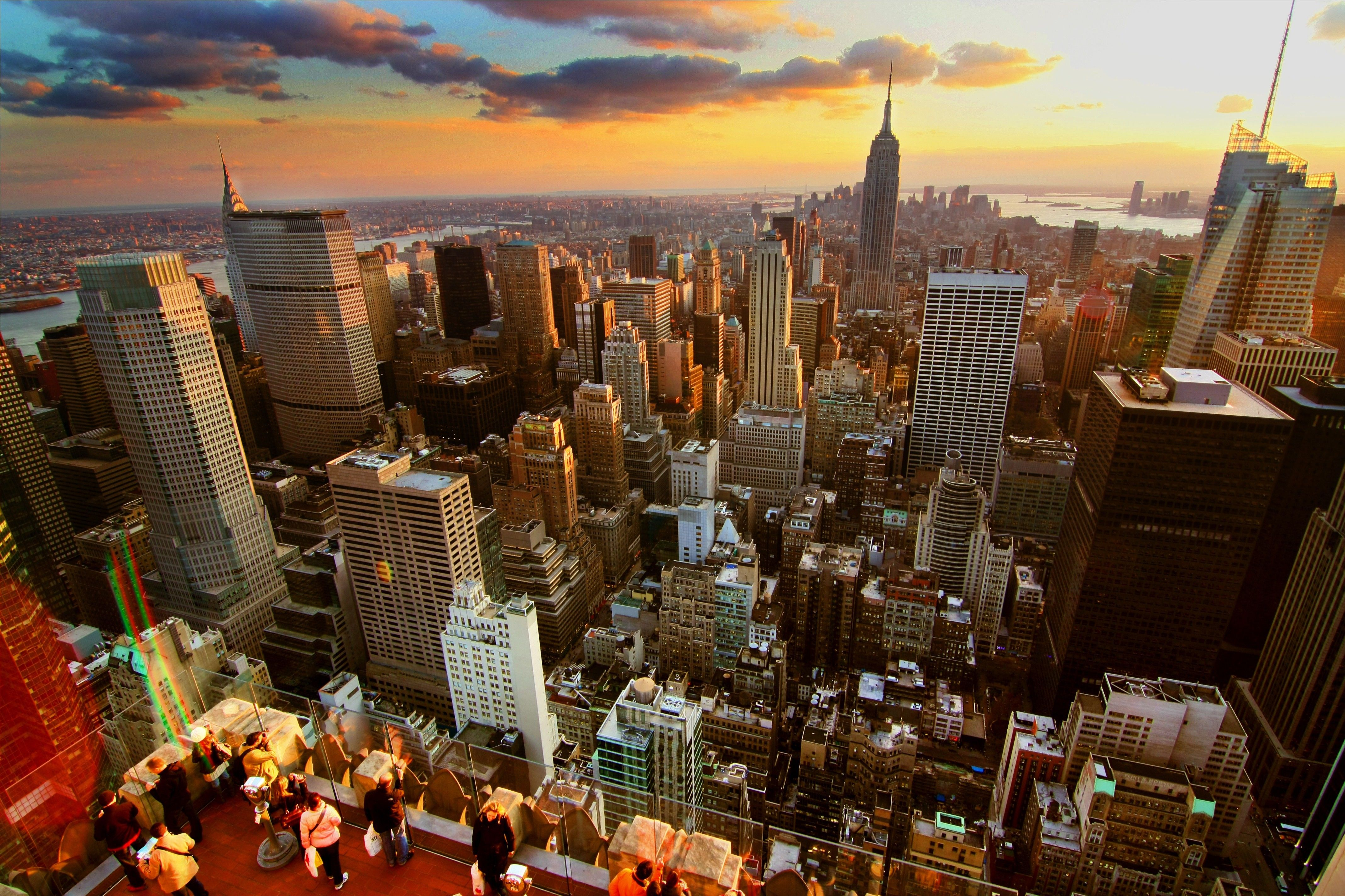 An aerial view of New York City at sunset.