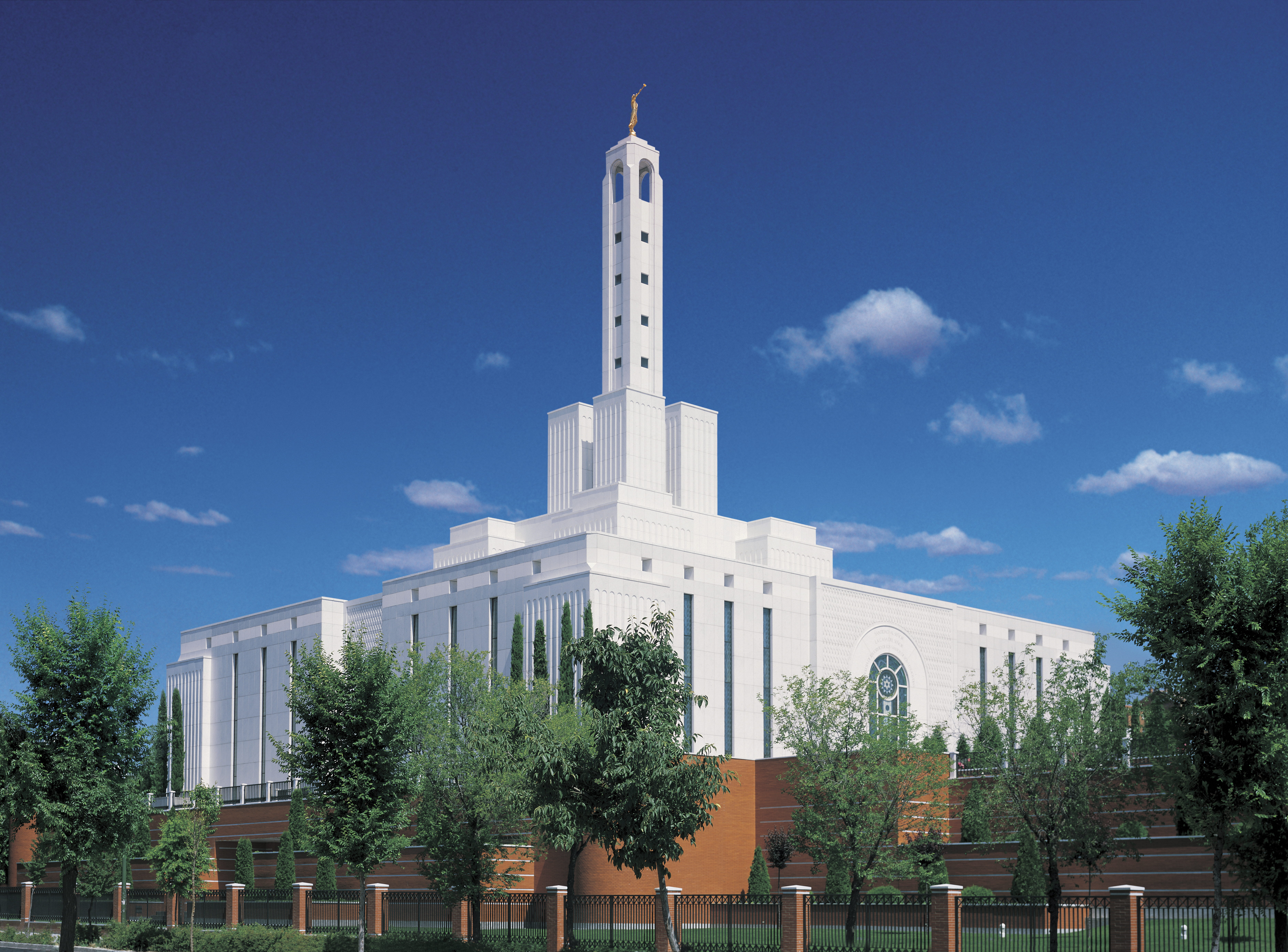 The Madrid Spain Temple and grounds on a sunny day.