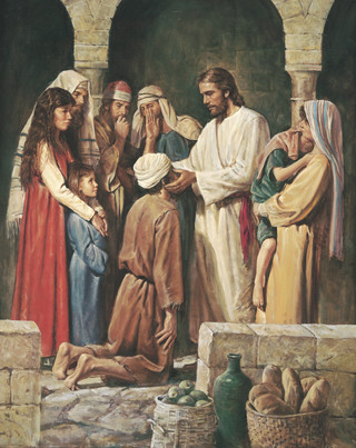 Christ Healing a Blind Man, by Del Parson