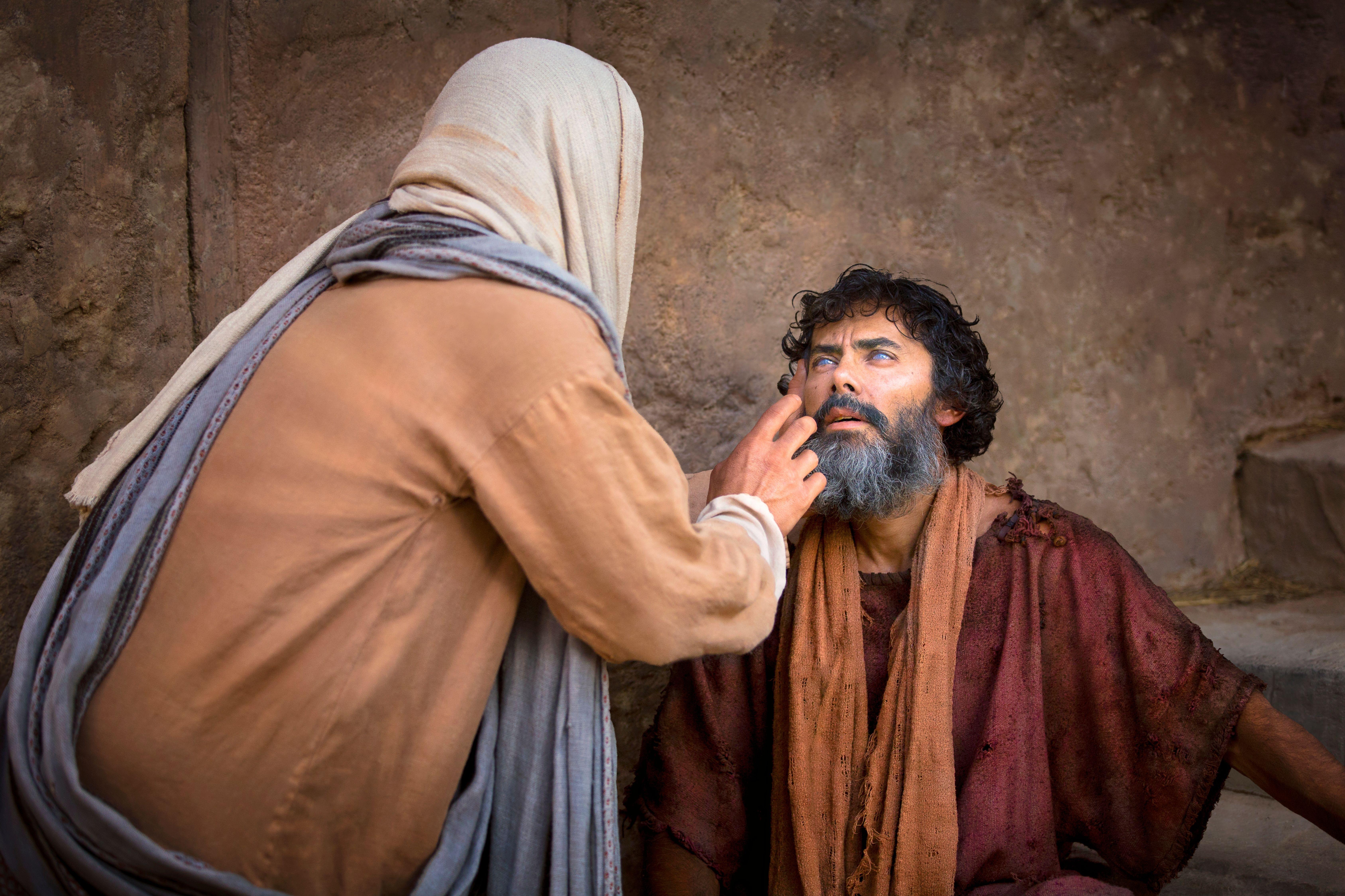 Christ healing a blind man.