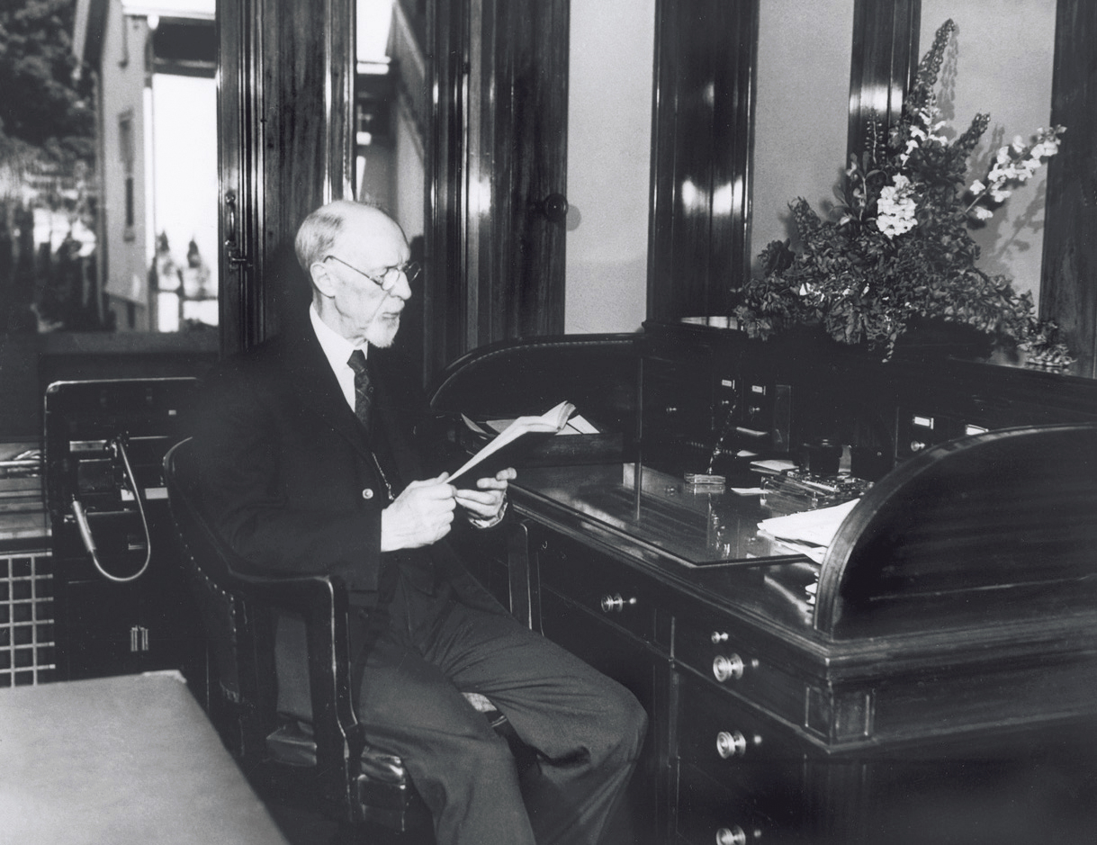 President George Albert Smith sitting at a desk in his office. Teachings of Presidents of the Church: George Albert Smith (2011), xxxviii