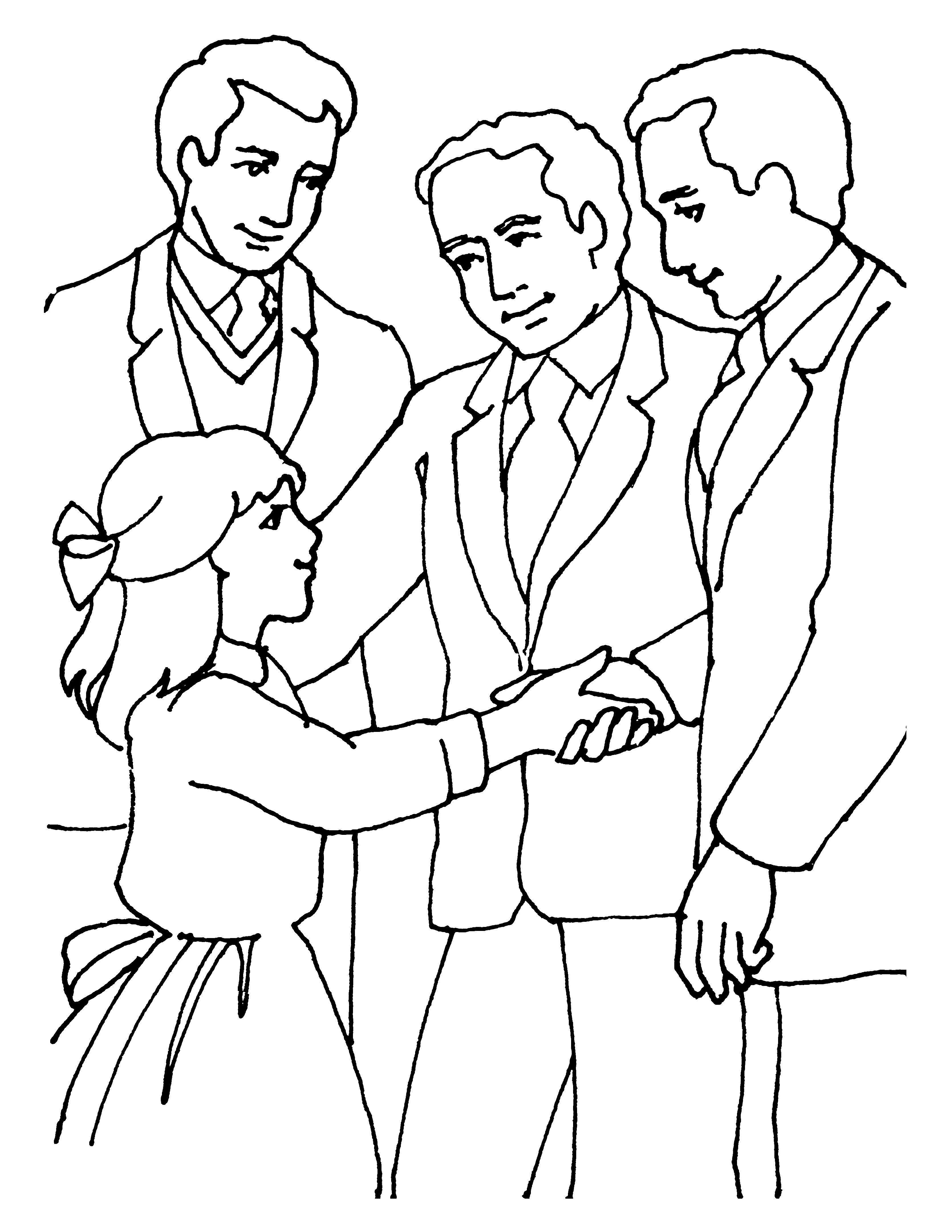 A young girl shakes hands with priesthood leaders.