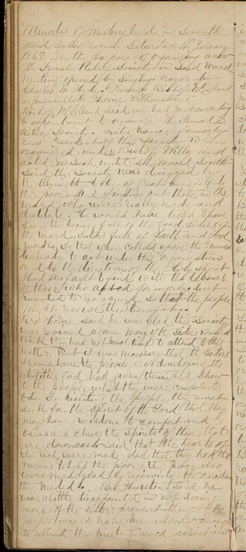Salt Lake City Seventh Ward Minutes, January 4, 1868