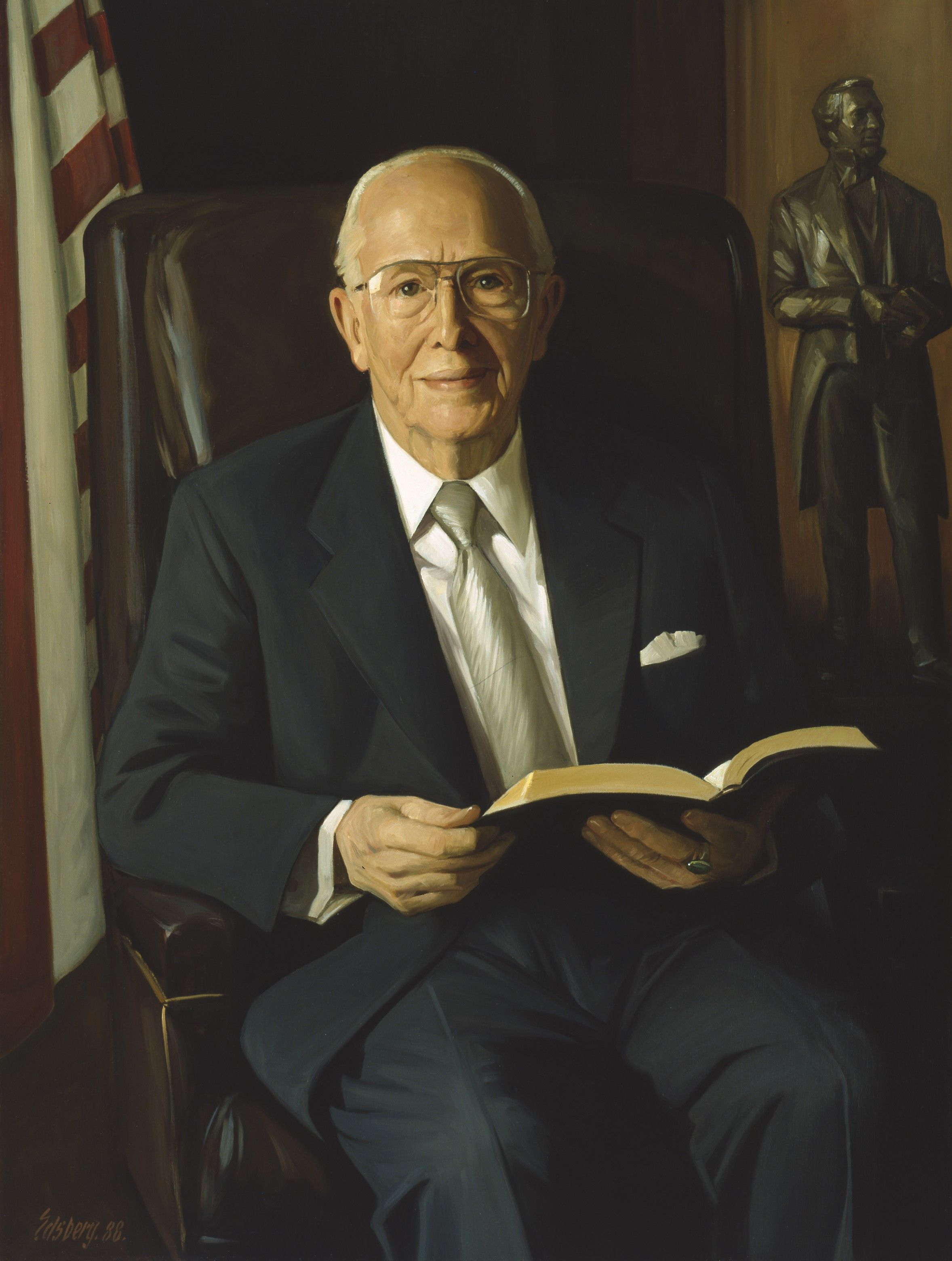 A portrait of Ezra Taft Benson, who was the 13th President of the Church from 1985 to 1994; painted by Knud Edsberg.