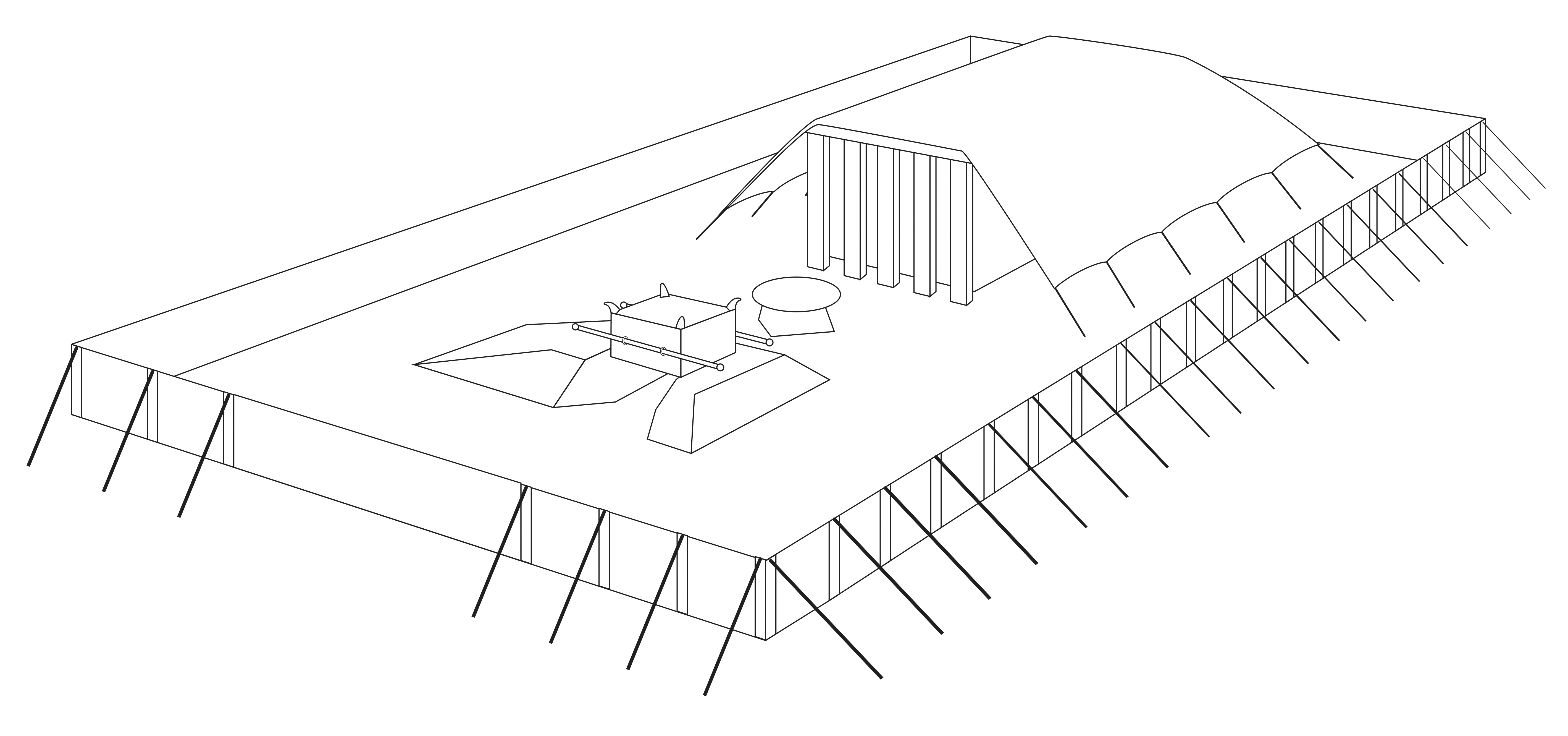 A line drawing by Jeremy Beck depicting the tabernacle in the wilderness.