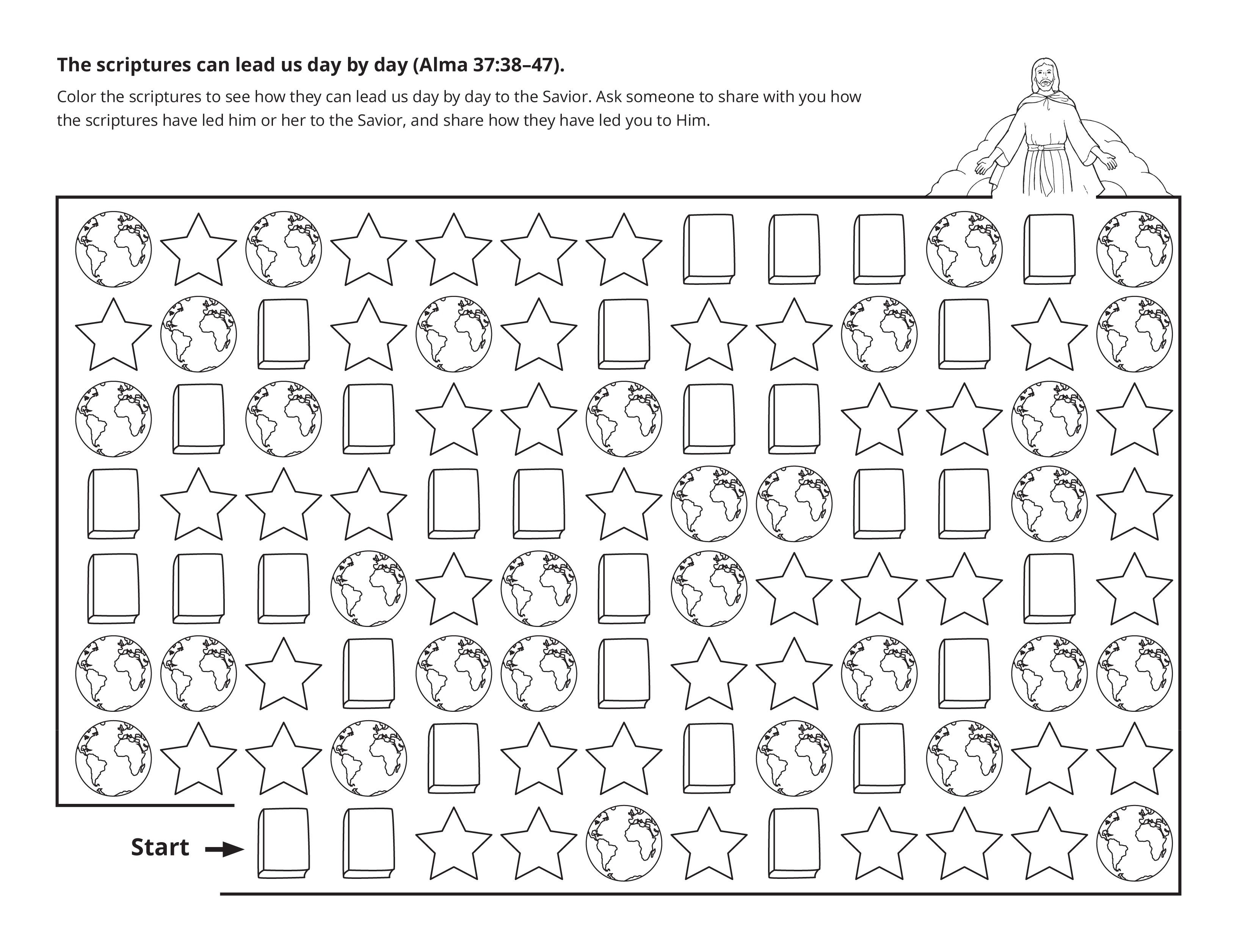 A maze activity showing how scriptures lead to the Savior.