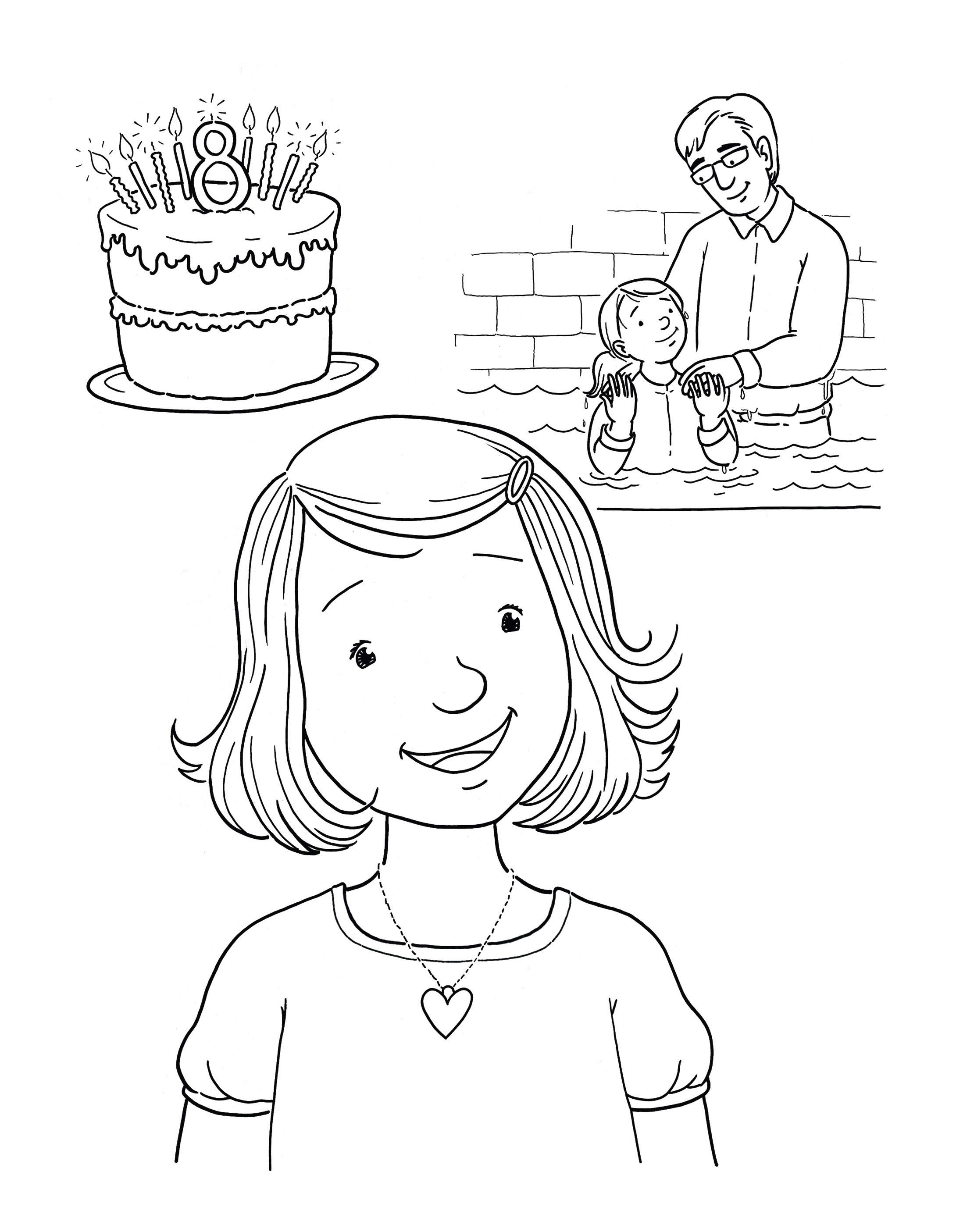 A girl thinks about her eighth birthday, her birthday cake, and being baptized.