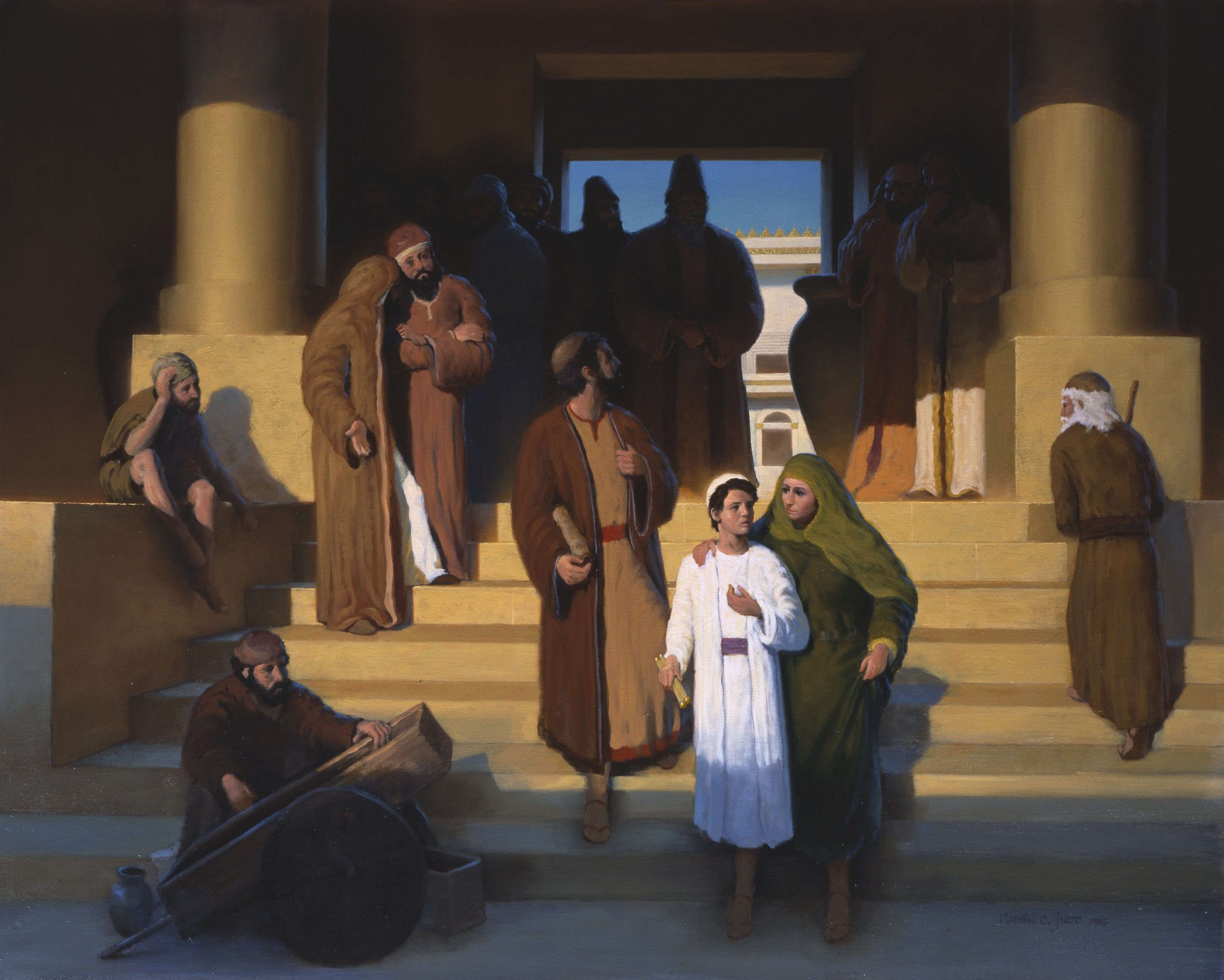 The Young Jesus Coming Out of the Temple with Mary and Joseph, by Matthew Judd