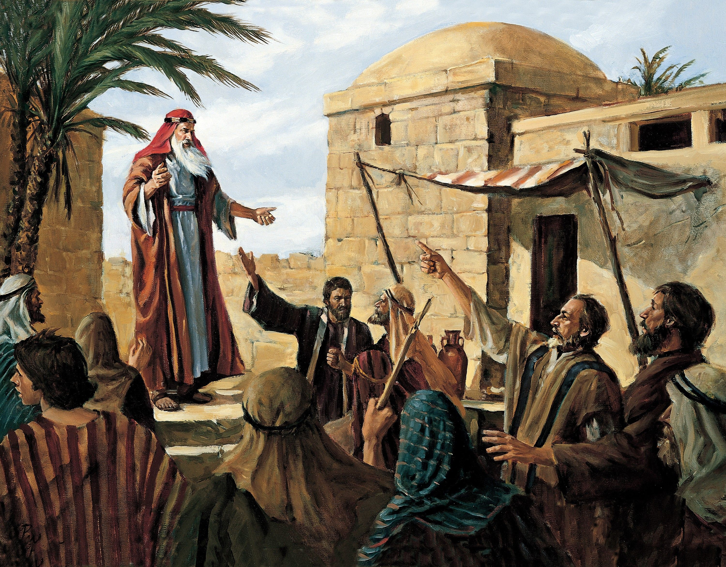 Lehi Prophesying to the People of Jerusalem (Lehi Preaching in Jerusalem), by Del Parson (62517); GAK 300; GAB 67; Primary manual 3-39; Primary manual 4-04; 1 Nephi 1:18–20
