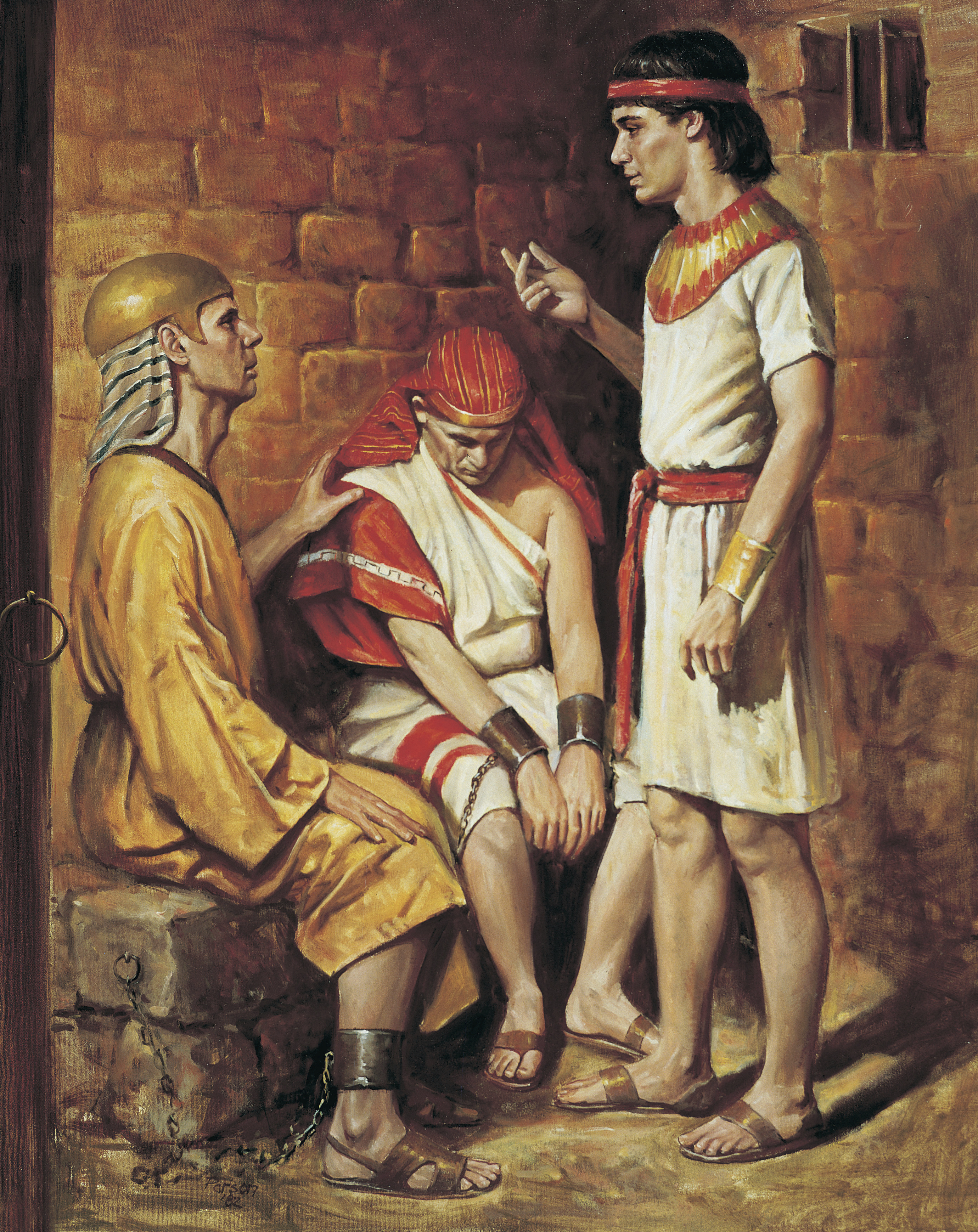 Joseph and the Butler and Baker (Joseph Interprets the Pharaoh's Servants' Dreams, by Del Parson; Primary manual 6-19