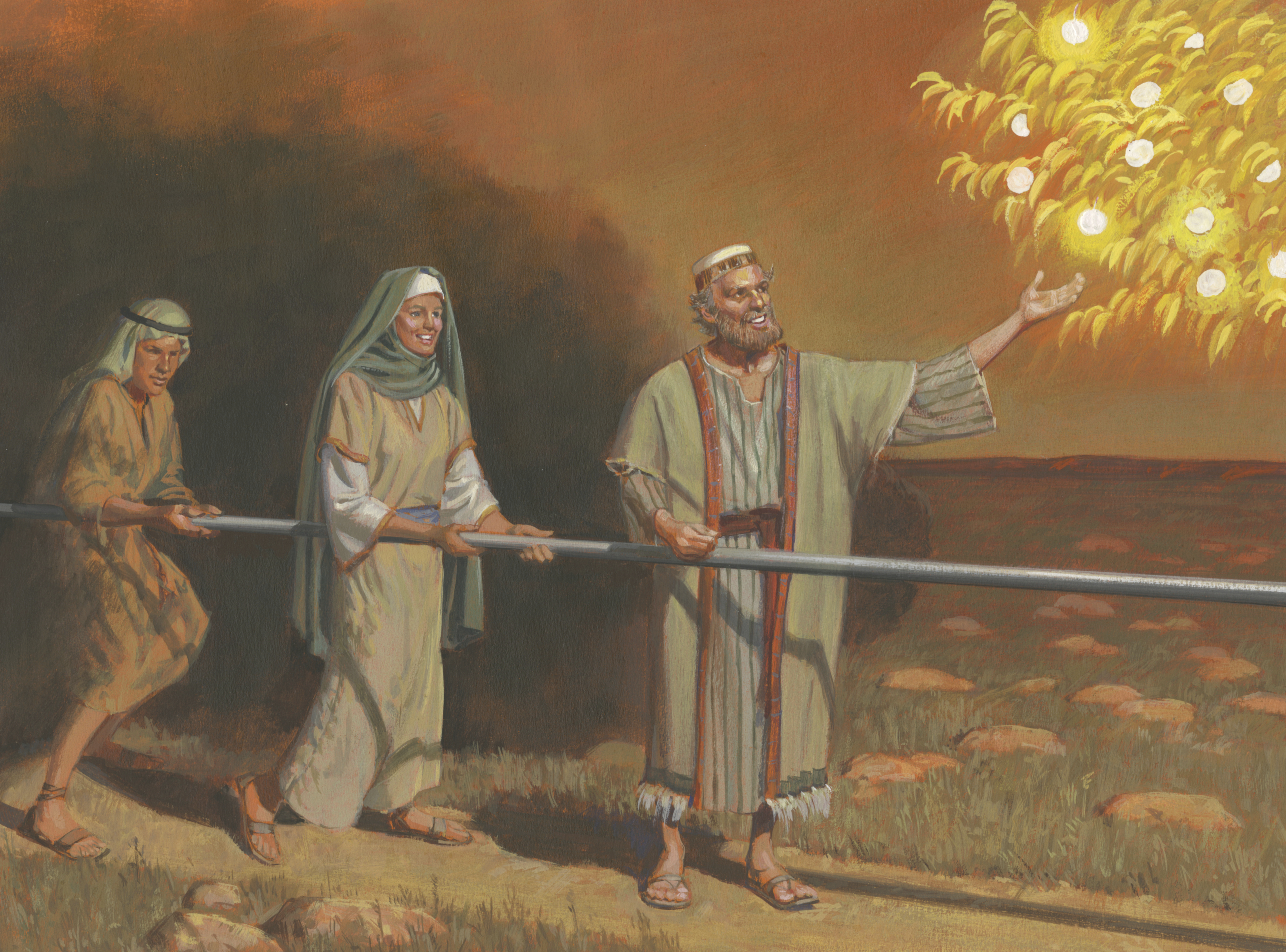 A painting by Jerry Thompson depicting Lehi reaching for the fruit of the tree of life; Primary manual 4-14