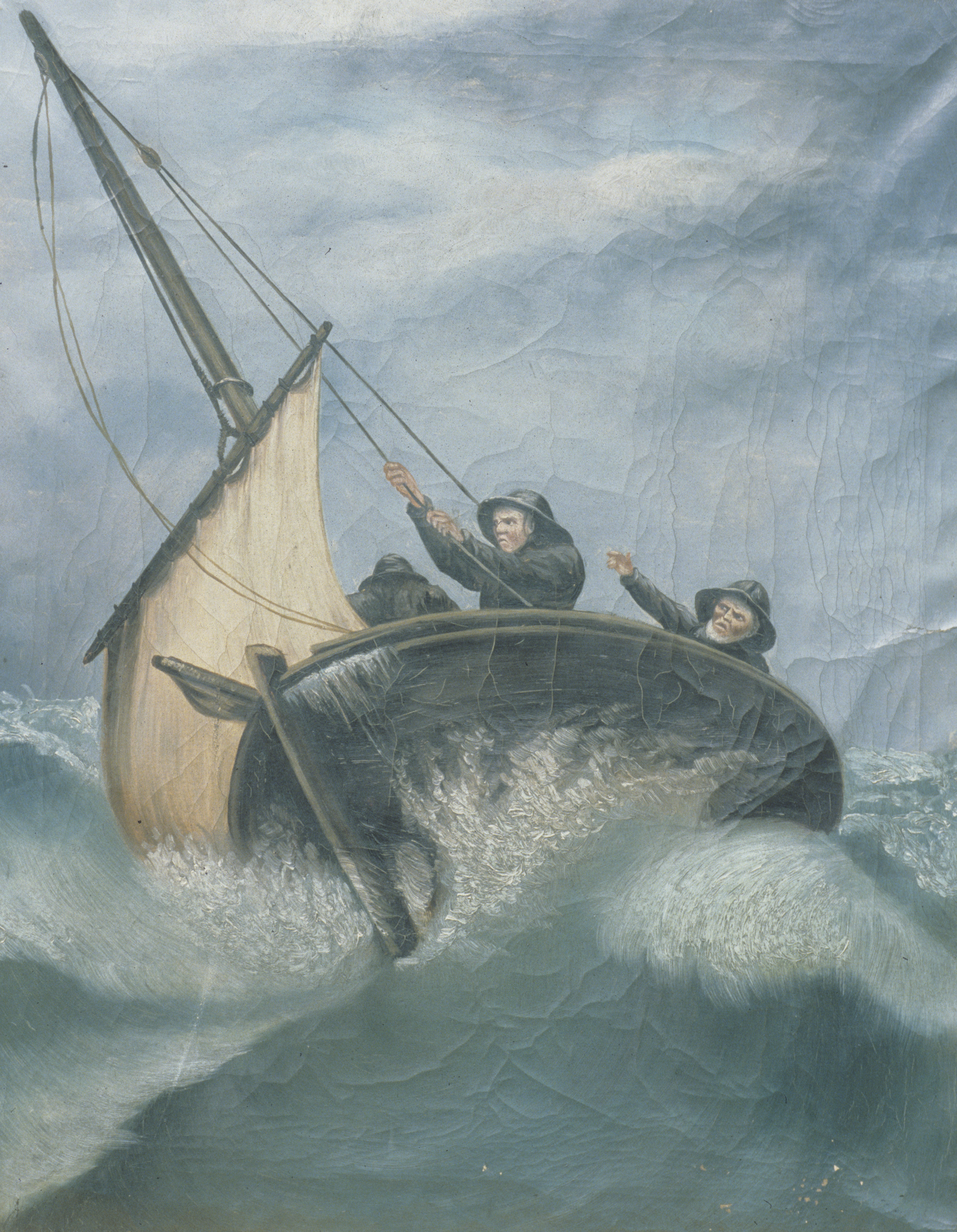 A painting of three men in a small fishing boat during a storm at sea.