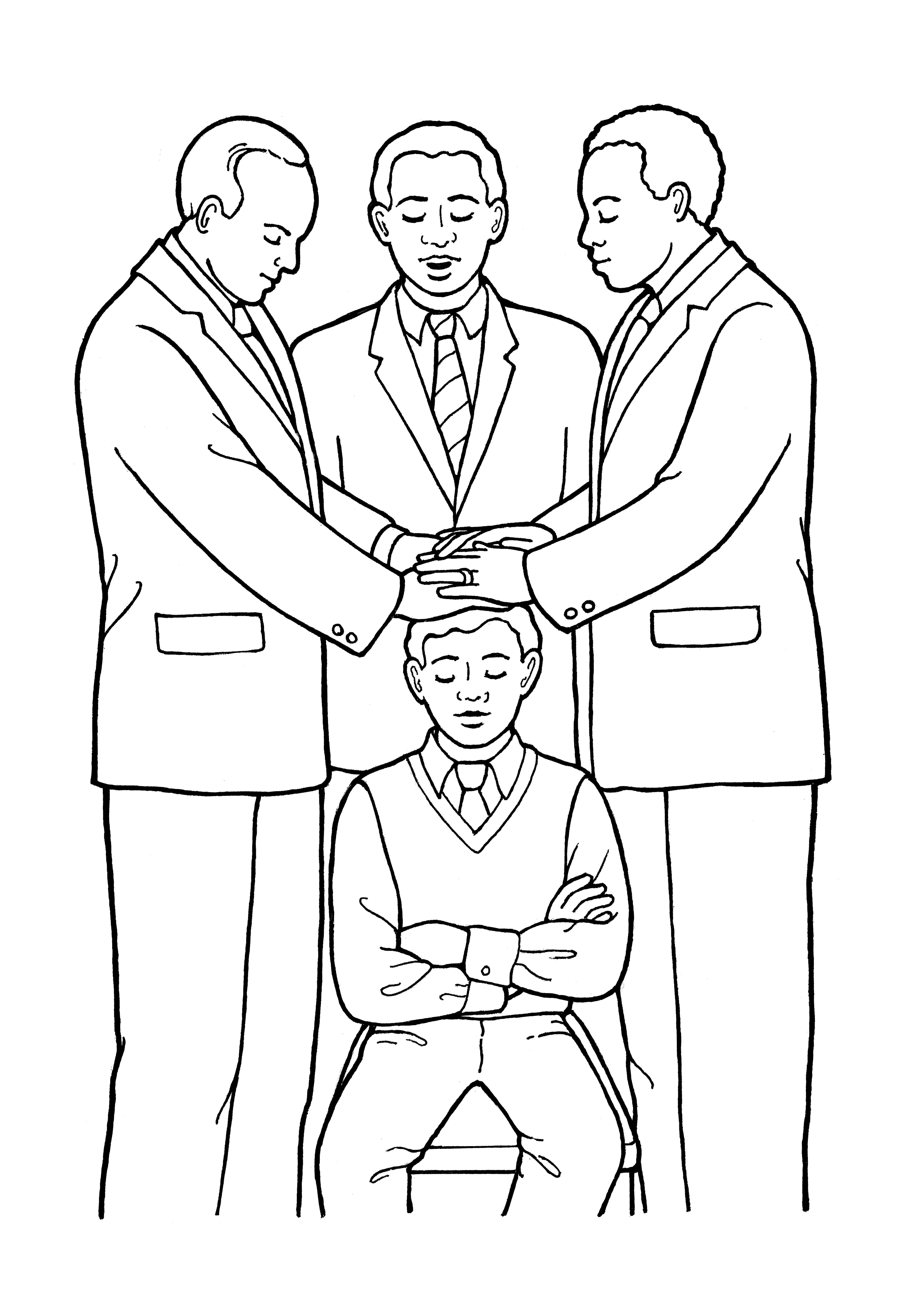 """An illustration of the fifth article of faith—""""Hands"""" (a young man being ordained to the priesthood)."""