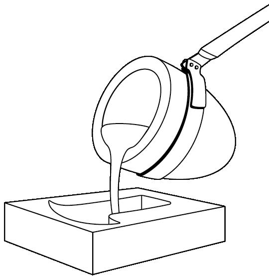 crucible pouring molten metal