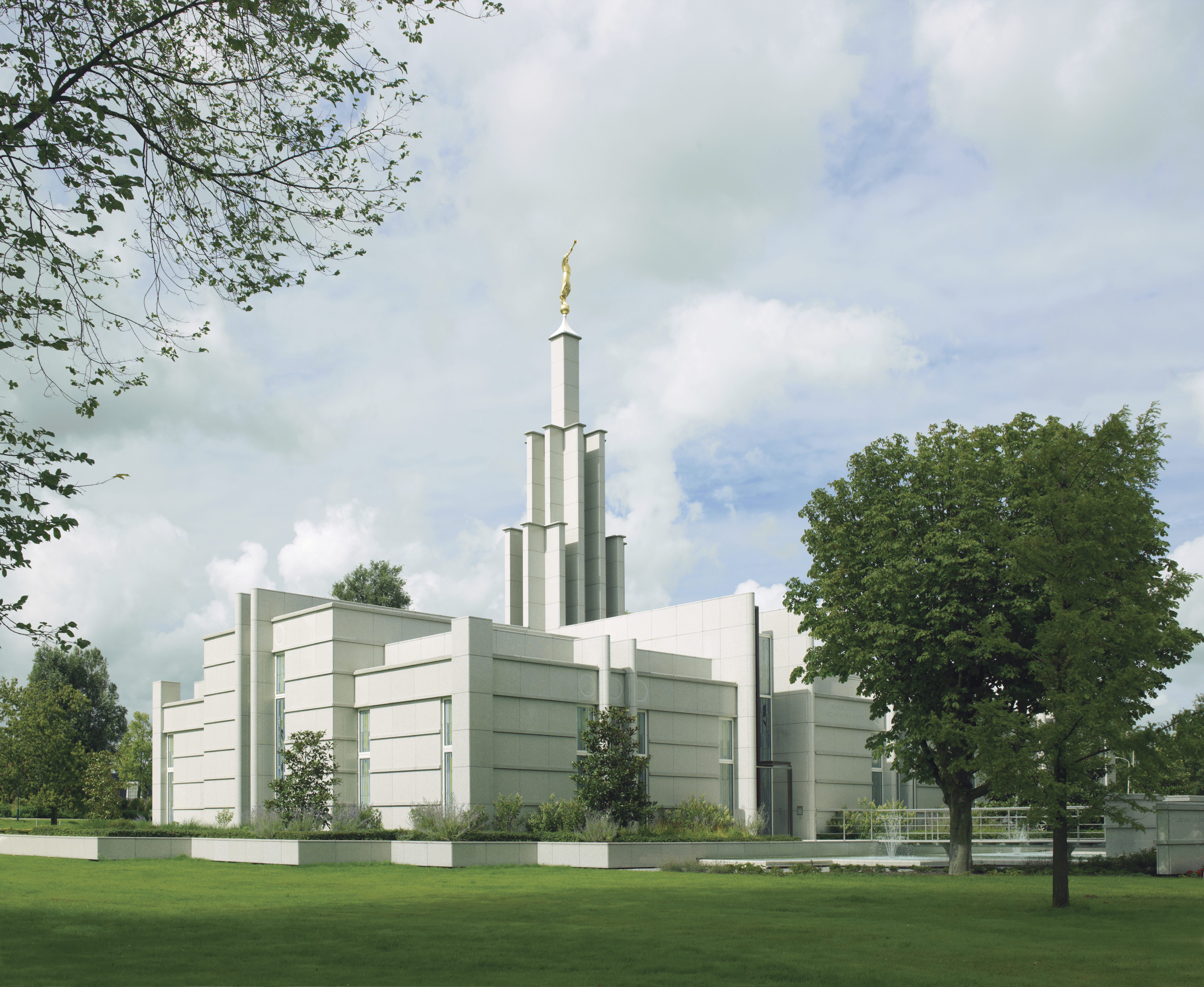 The Hague Netherlands Temple on a cloudy day.