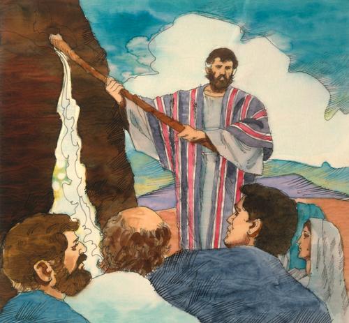 Moses smiting rock