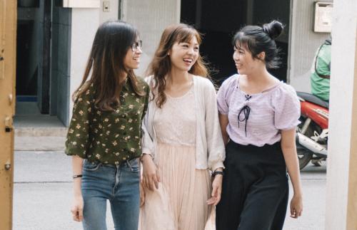 Vietnamese YSA walking to Womens Broadcast