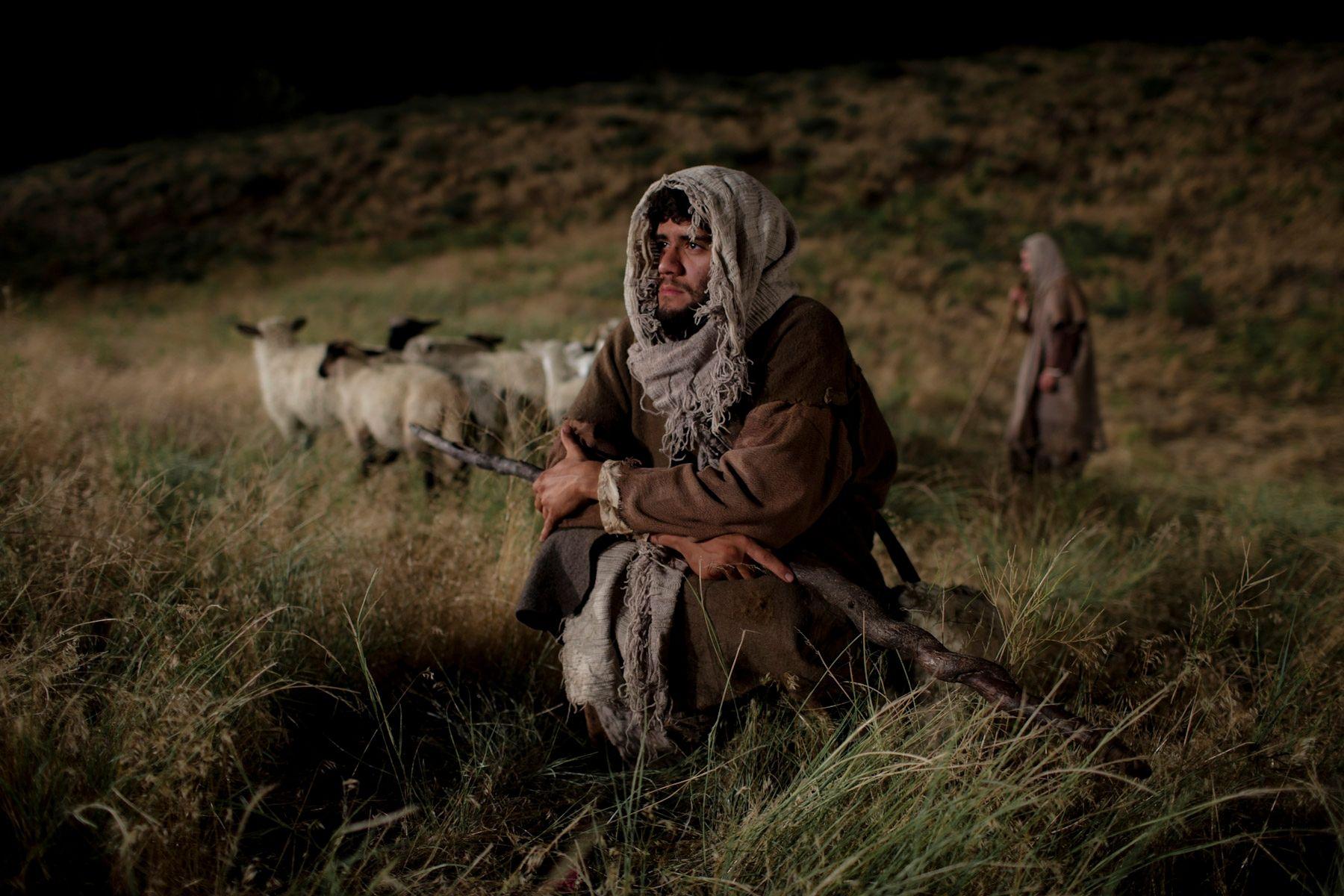 Shepherds watch their flocks at night.