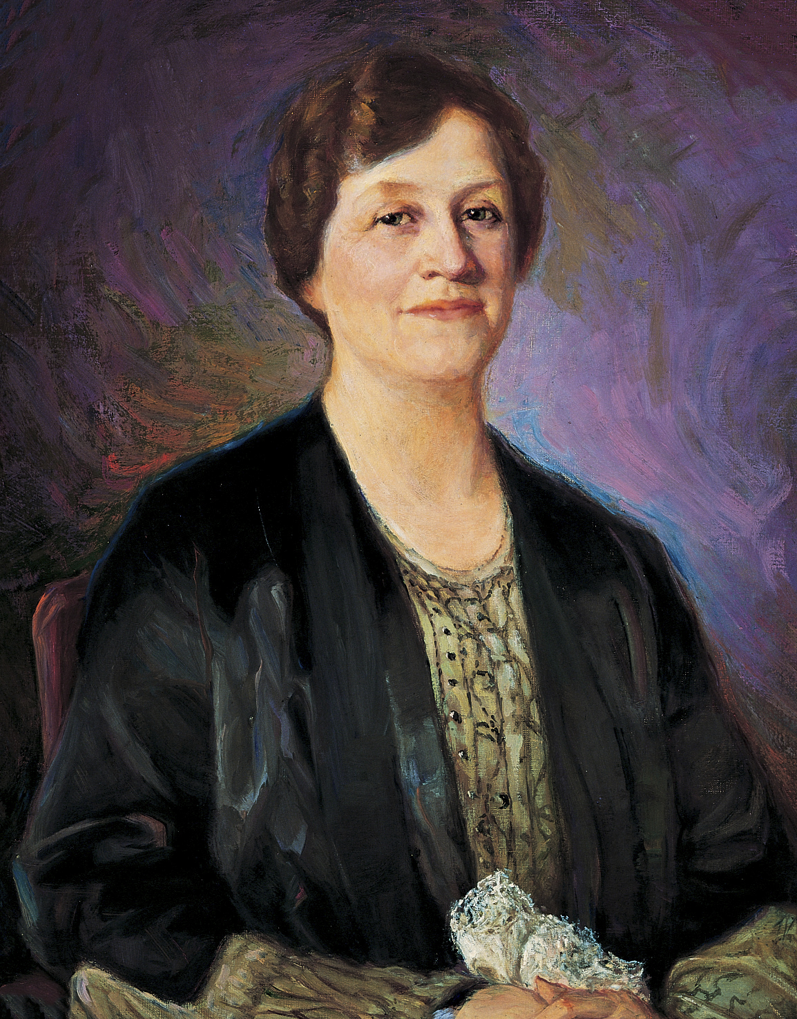 A portrait of Louise Yates Robison, who served as the seventh general president of the Relief Society from 1928 to 1939; painted by John Willard Clawson.