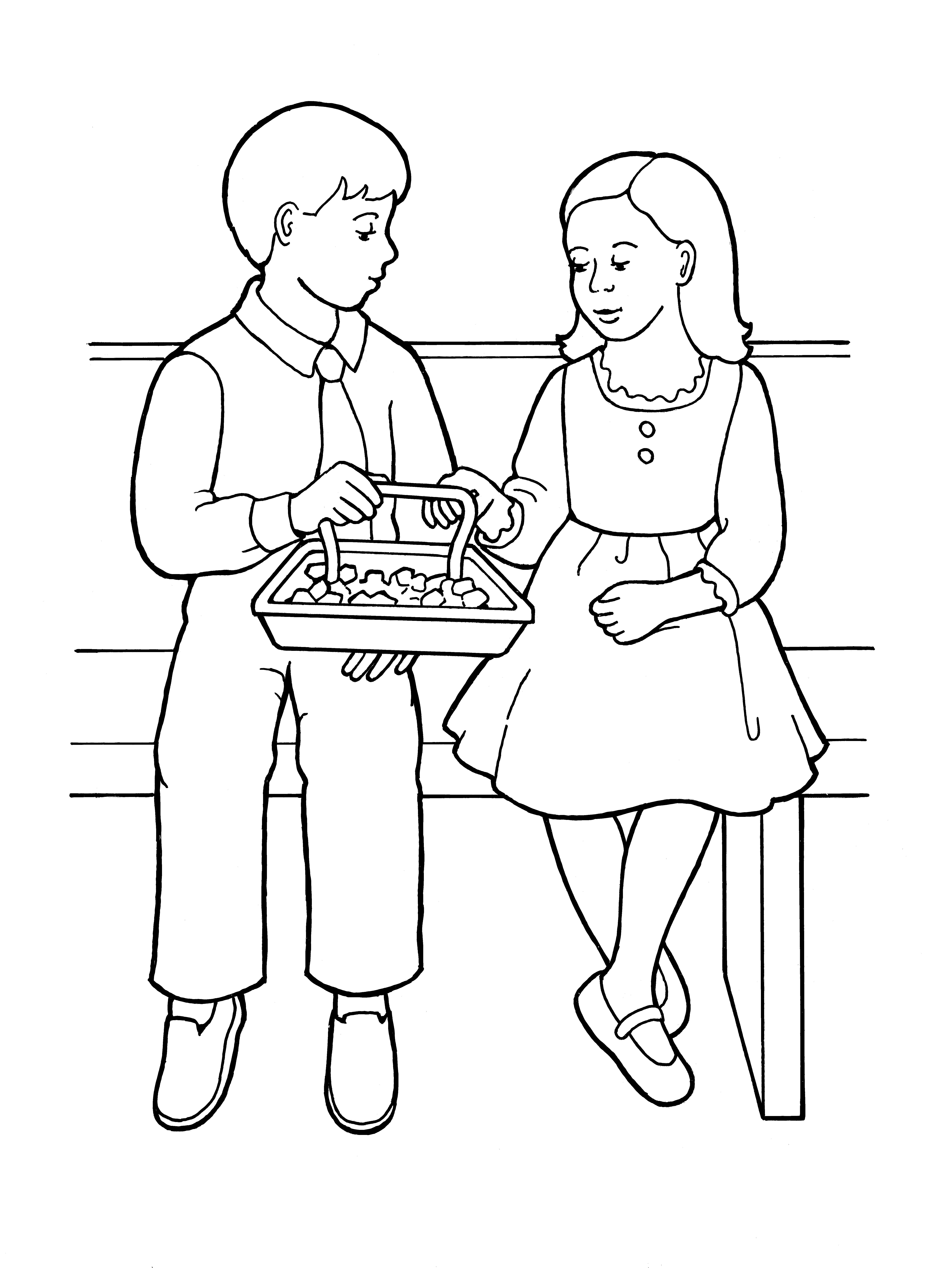 An illustration of a young girl and young boy partaking of the sacrament bread, from the nursery manual Behold Your Little Ones (2008), page 115.