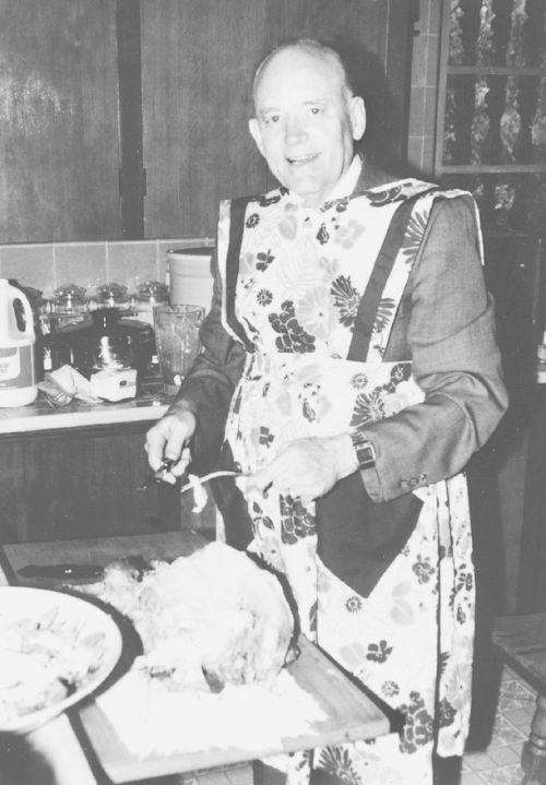 Howard W. Hunter in apron