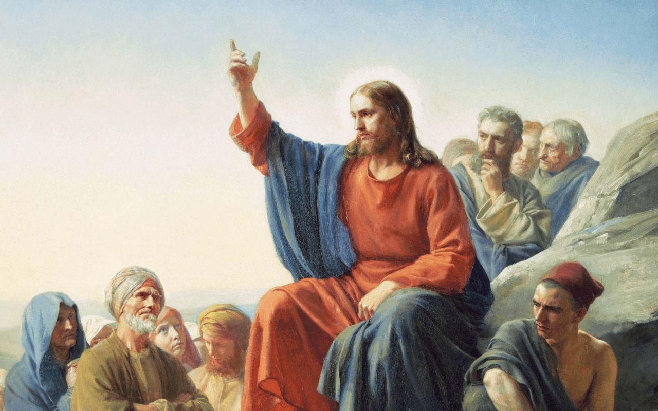 Jesus Christ teaches His disciples at the Sermon on the Mount