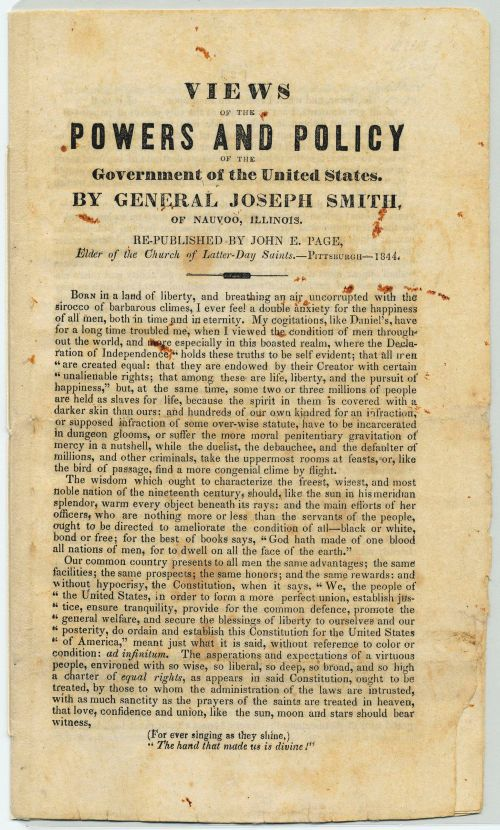 Joseph Smith: Campaign for President of the United States
