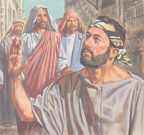 Jesus and disciples approaching blind man