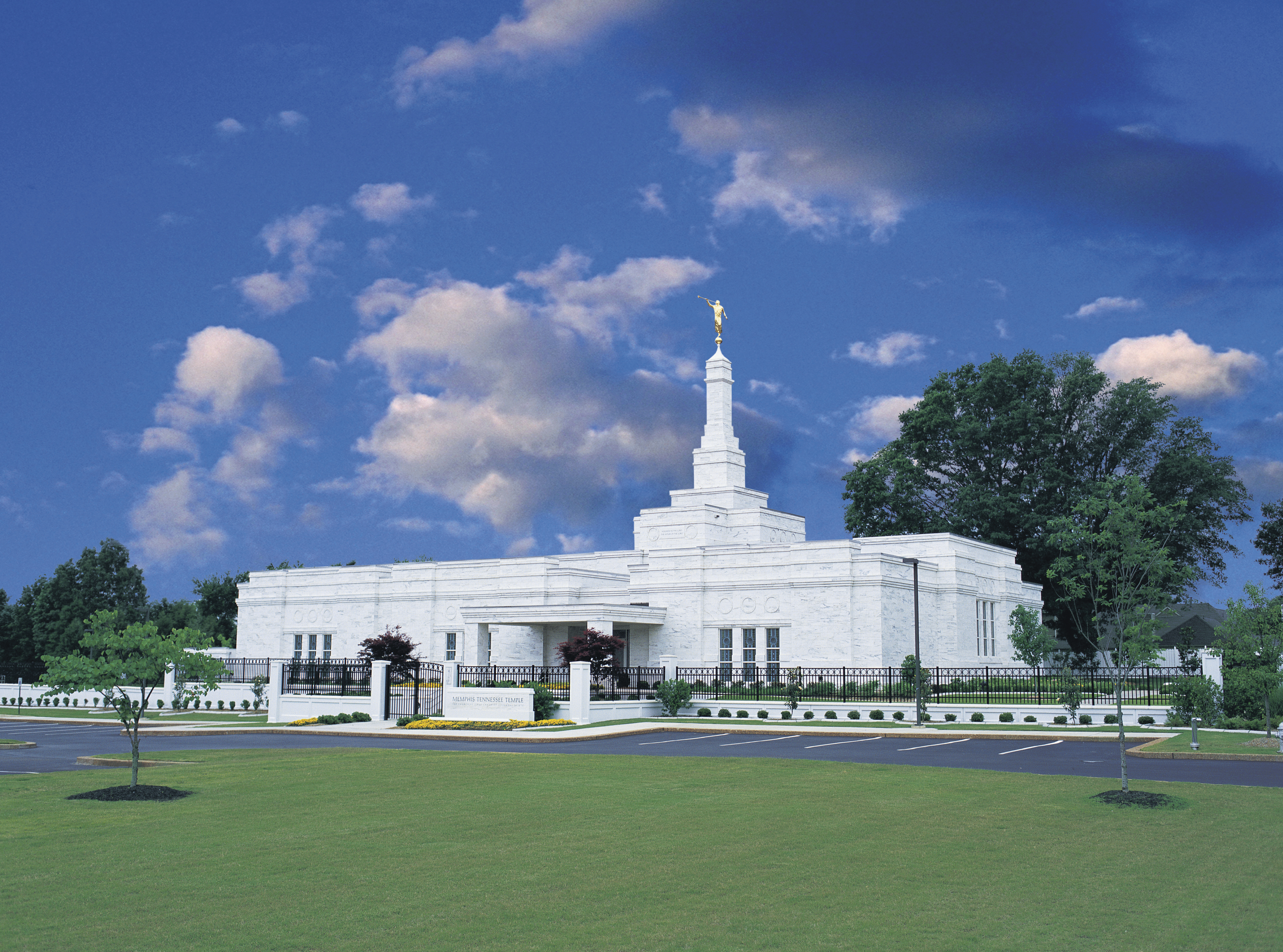 The Memphis Tennessee Temple, including the entrance and scenery.