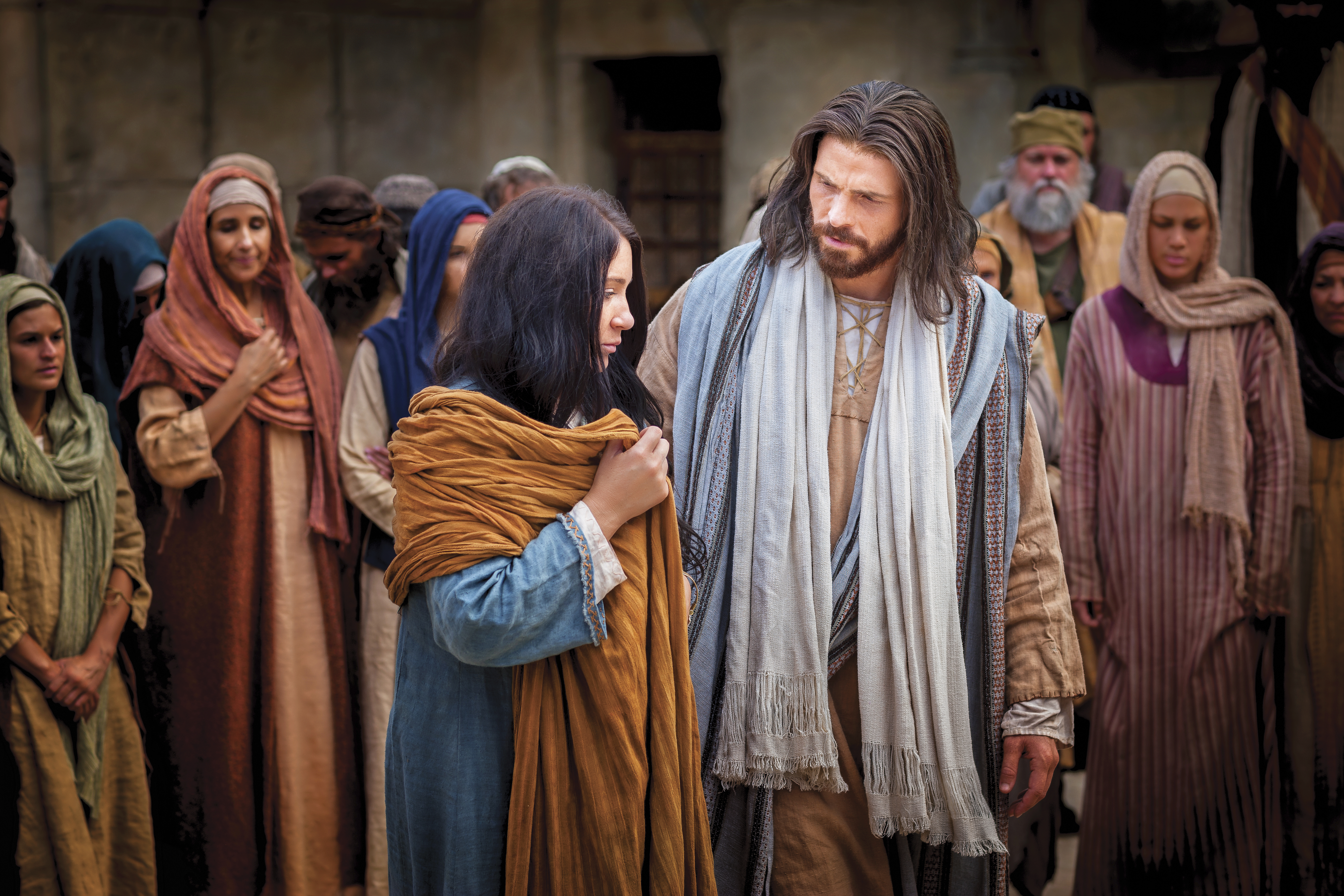 Christ standing beside the woman who was taken in adultery.