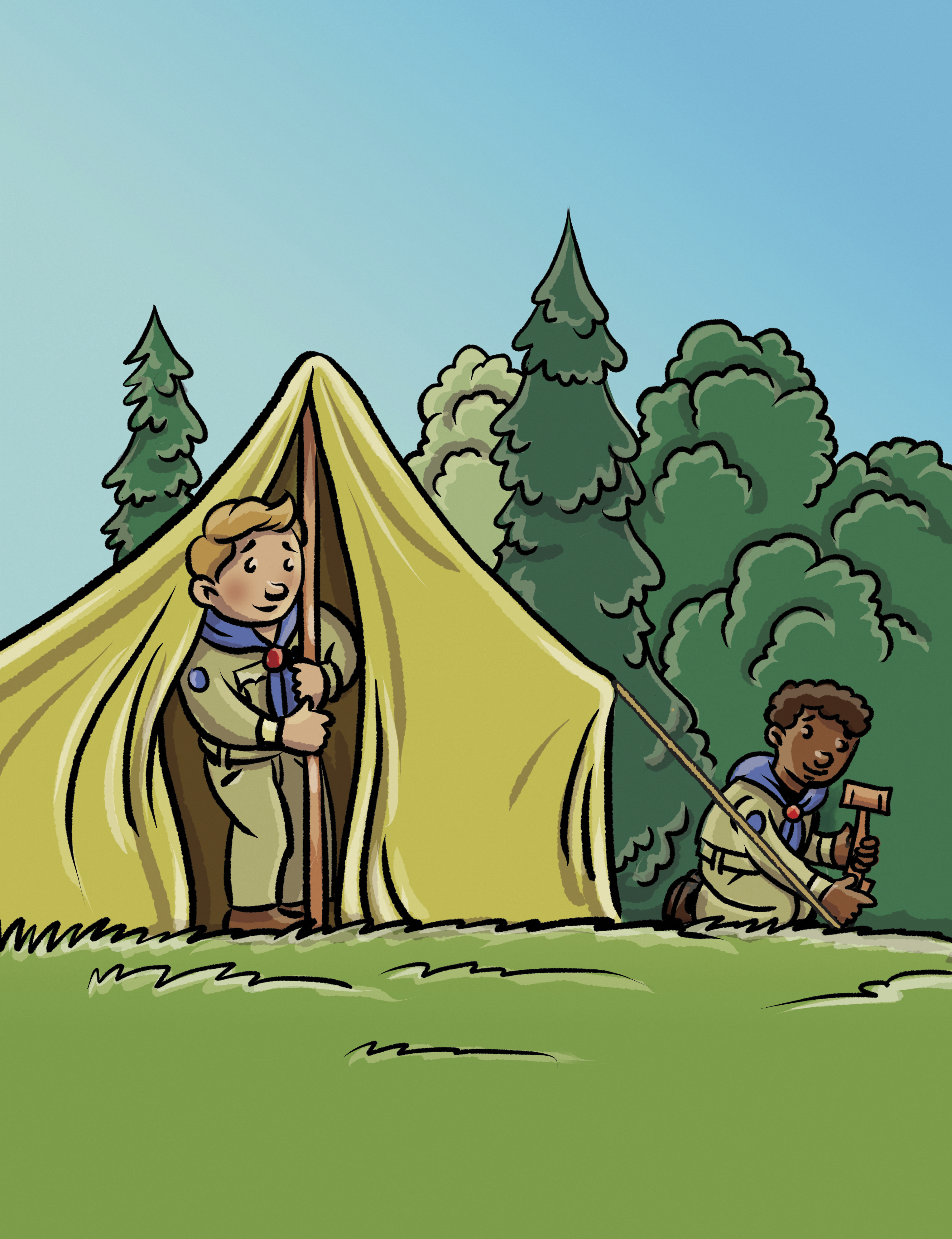 Two Boy Scouts set up a tent together.