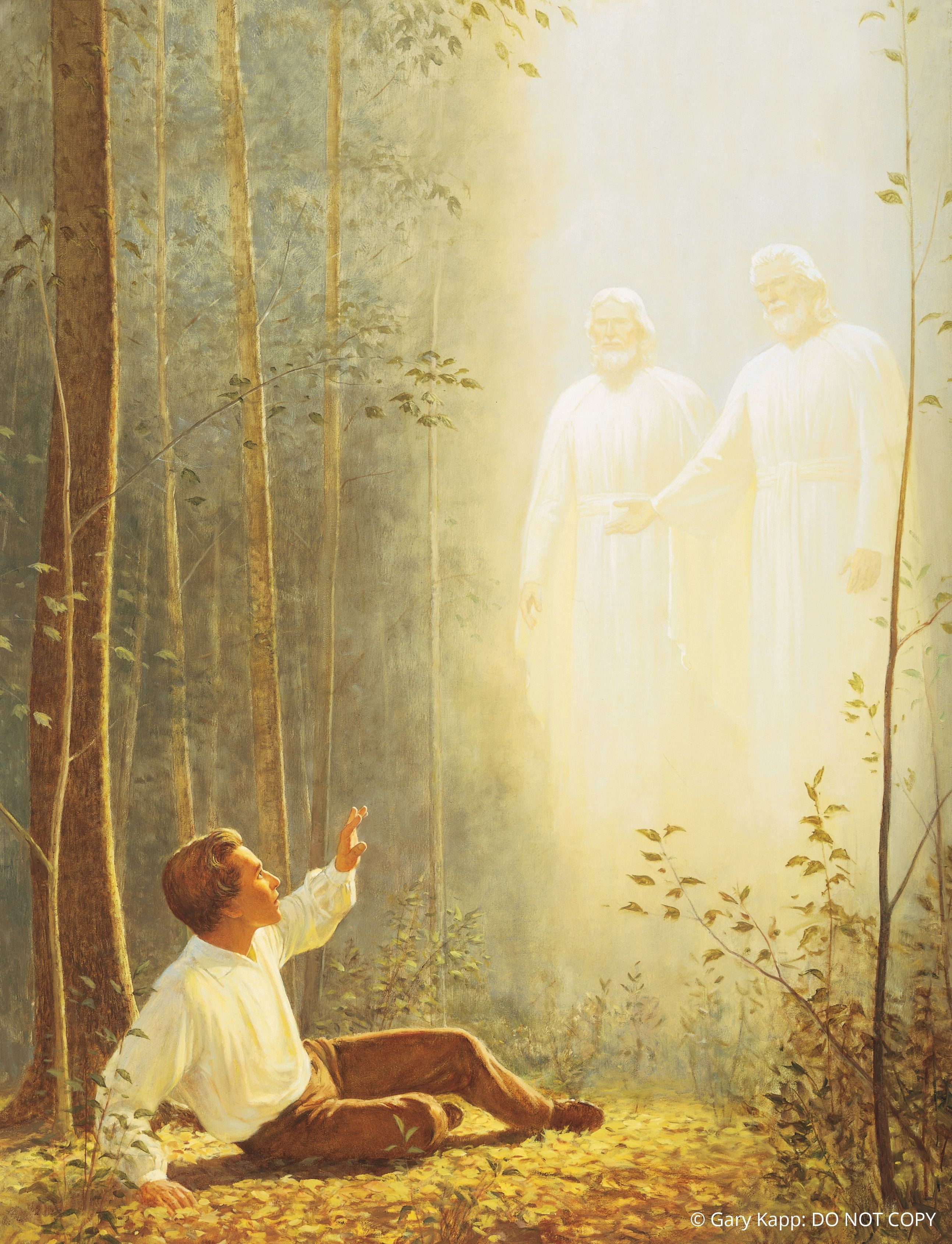The First Vision, by Gary Kapp; GAB 90; nursery manual lesson 9, page 42; Joseph Smith—History 1:14–20; © Gary Kapp: DO NOT COPY. This asset is for Church use and online viewing only.