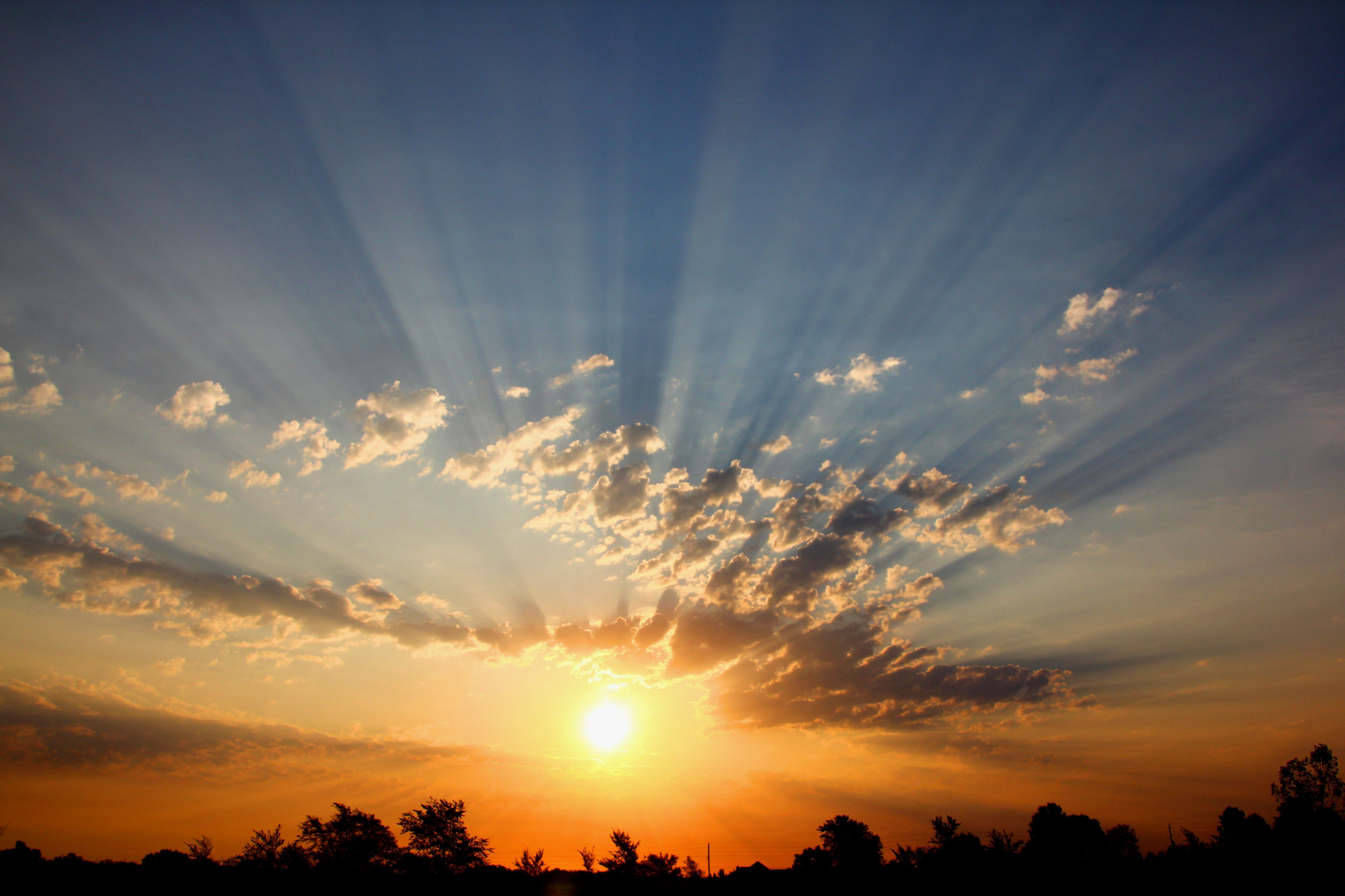 The sun rises in the sky, radiating long rays.