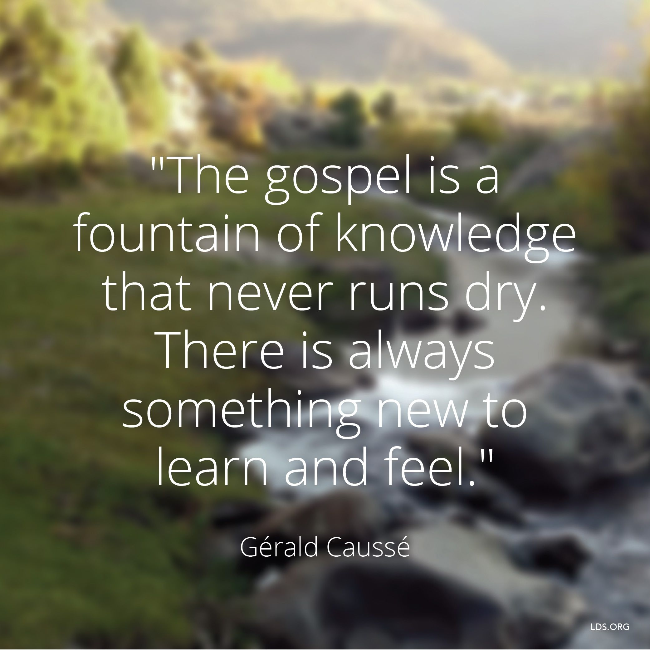 """""""The gospel is a fountain of knowledge that never runs dry. There is always something new to learn and feel.""""—Bishop Gérald Caussé, """"Is It Still Wonderful to You?"""""""