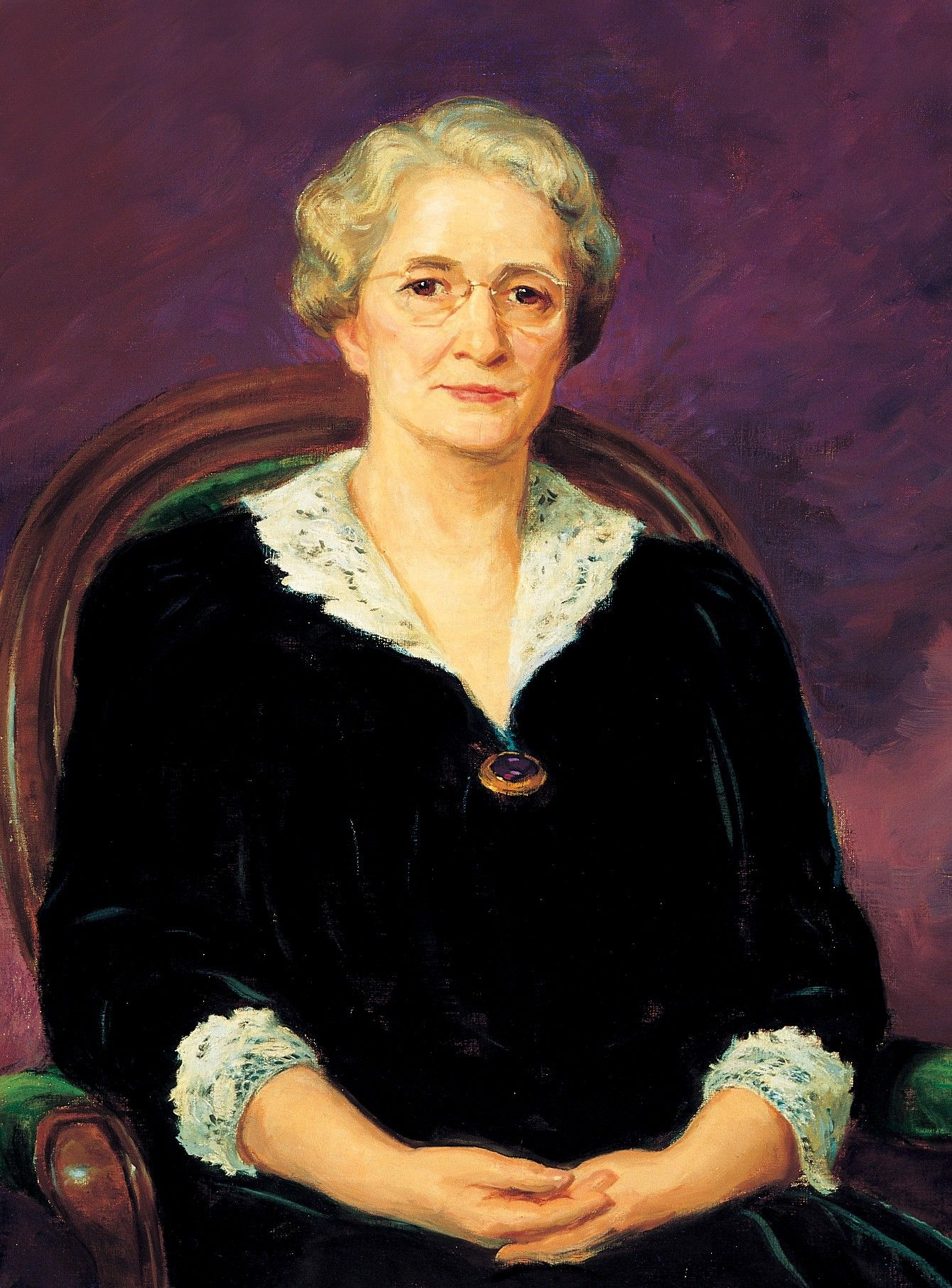 A portrait of Amy Brown Lyman, who served as the eighth general president of the Relief Society from 1940 to 1945; painted by Lee Greene Richards.