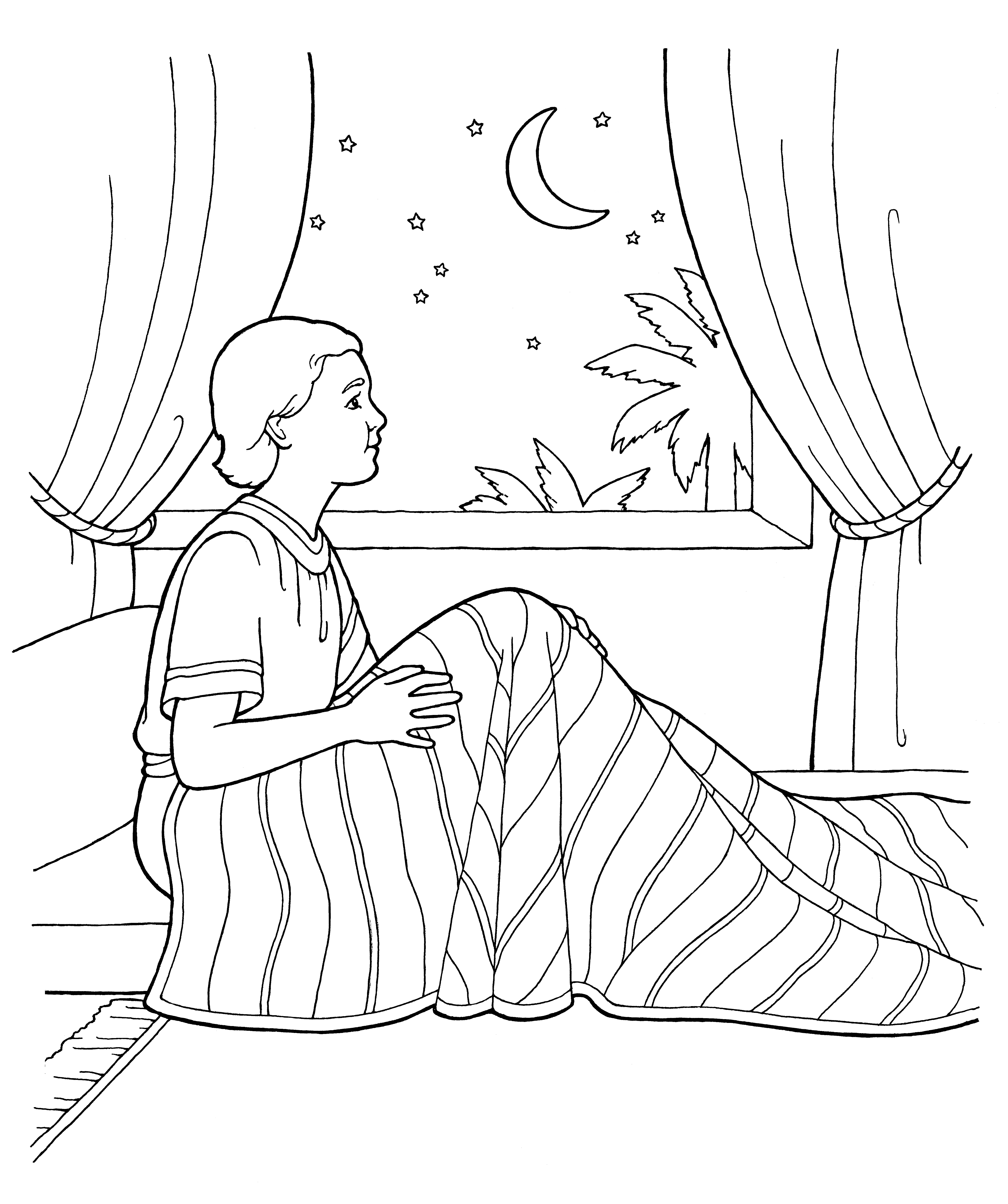 An illustration of the boy Samuel sitting up in bed.