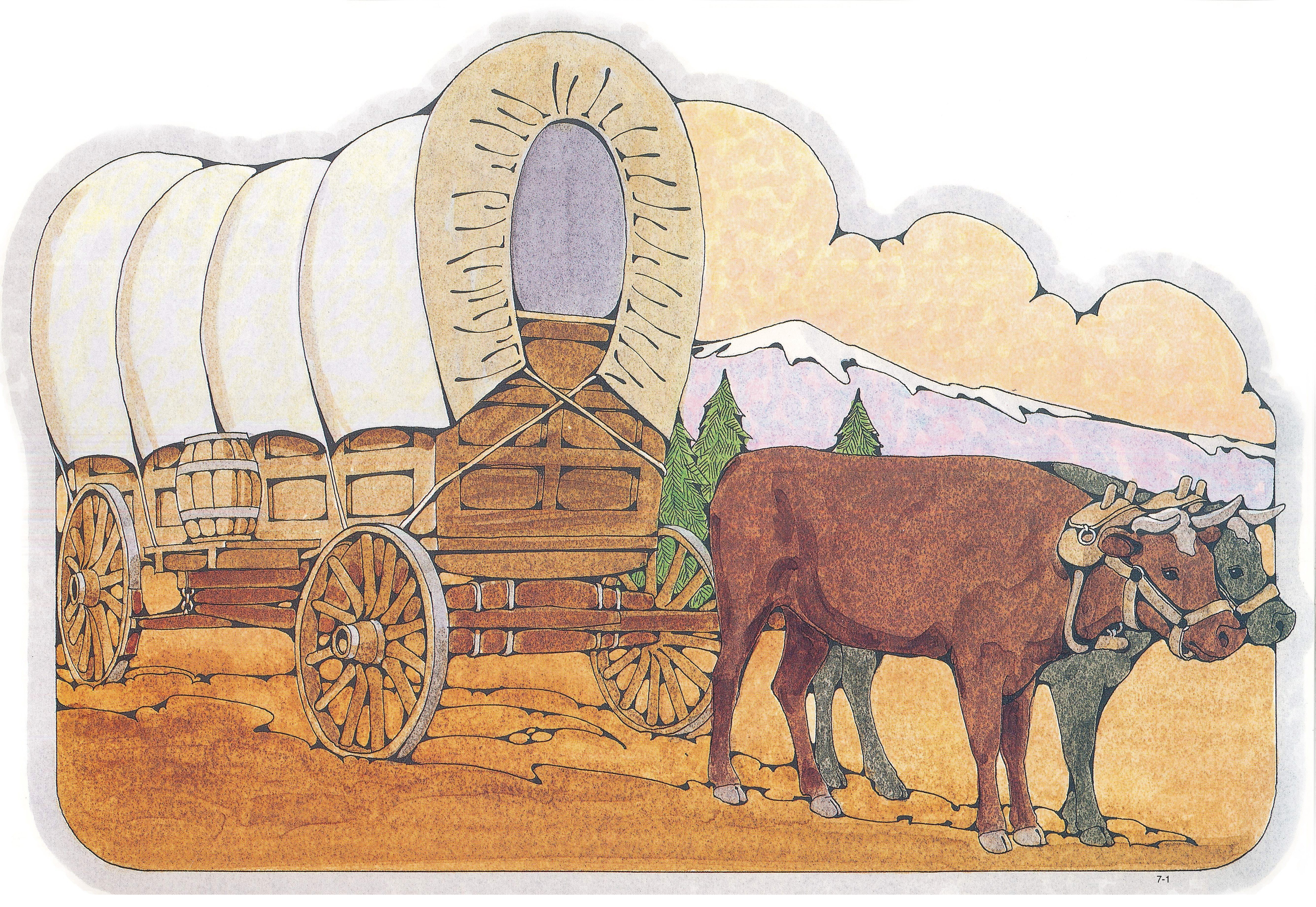 Primary Visual Aids: Cutout 7-1, Covered Wagon and Oxen.