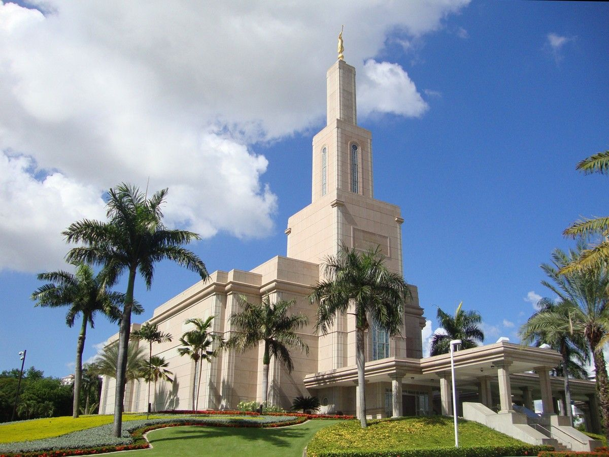 The Santo Domingo Dominican Republic Temple on a sunny day.