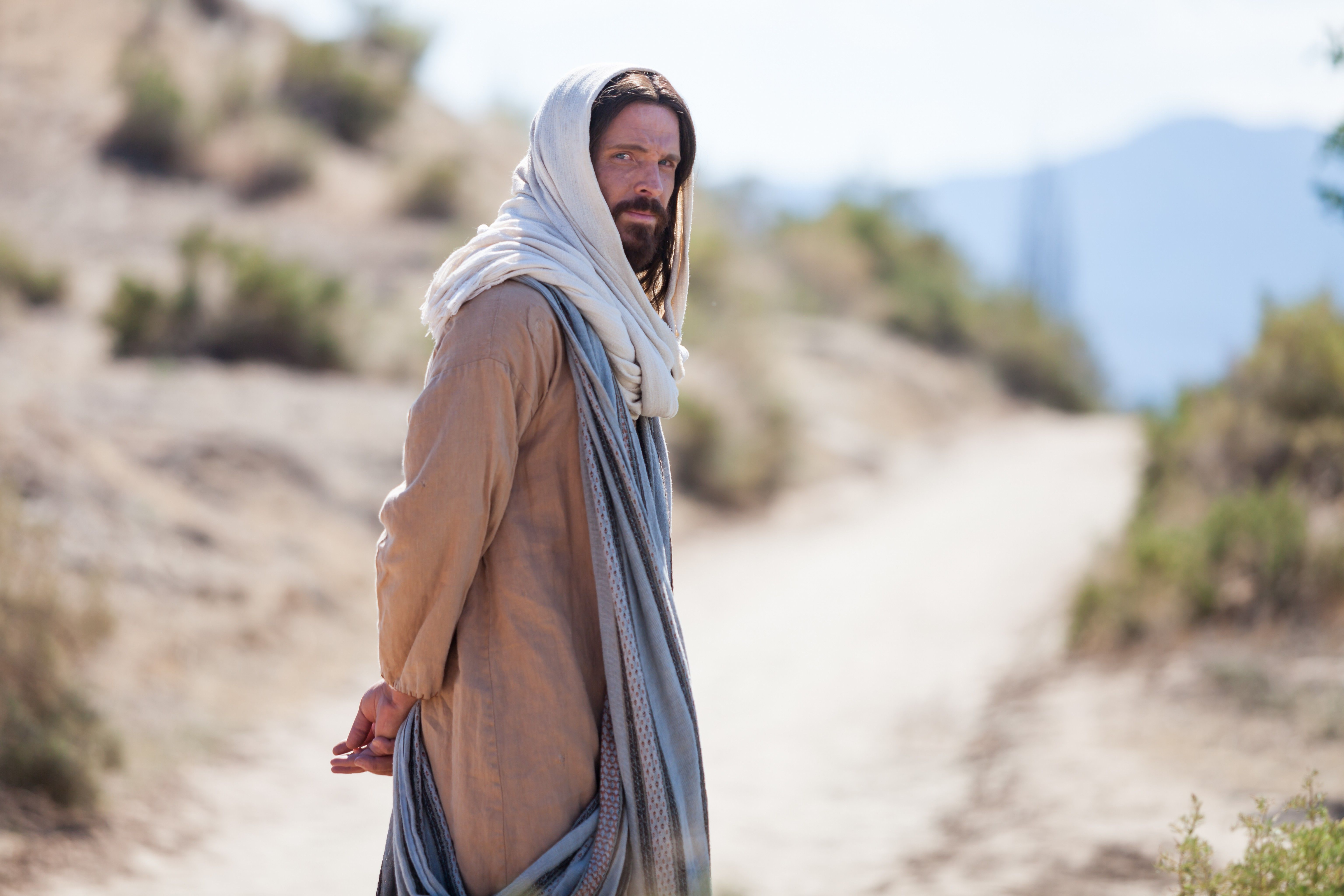 Portrait of Christ facing away, looking back over His shoulder.