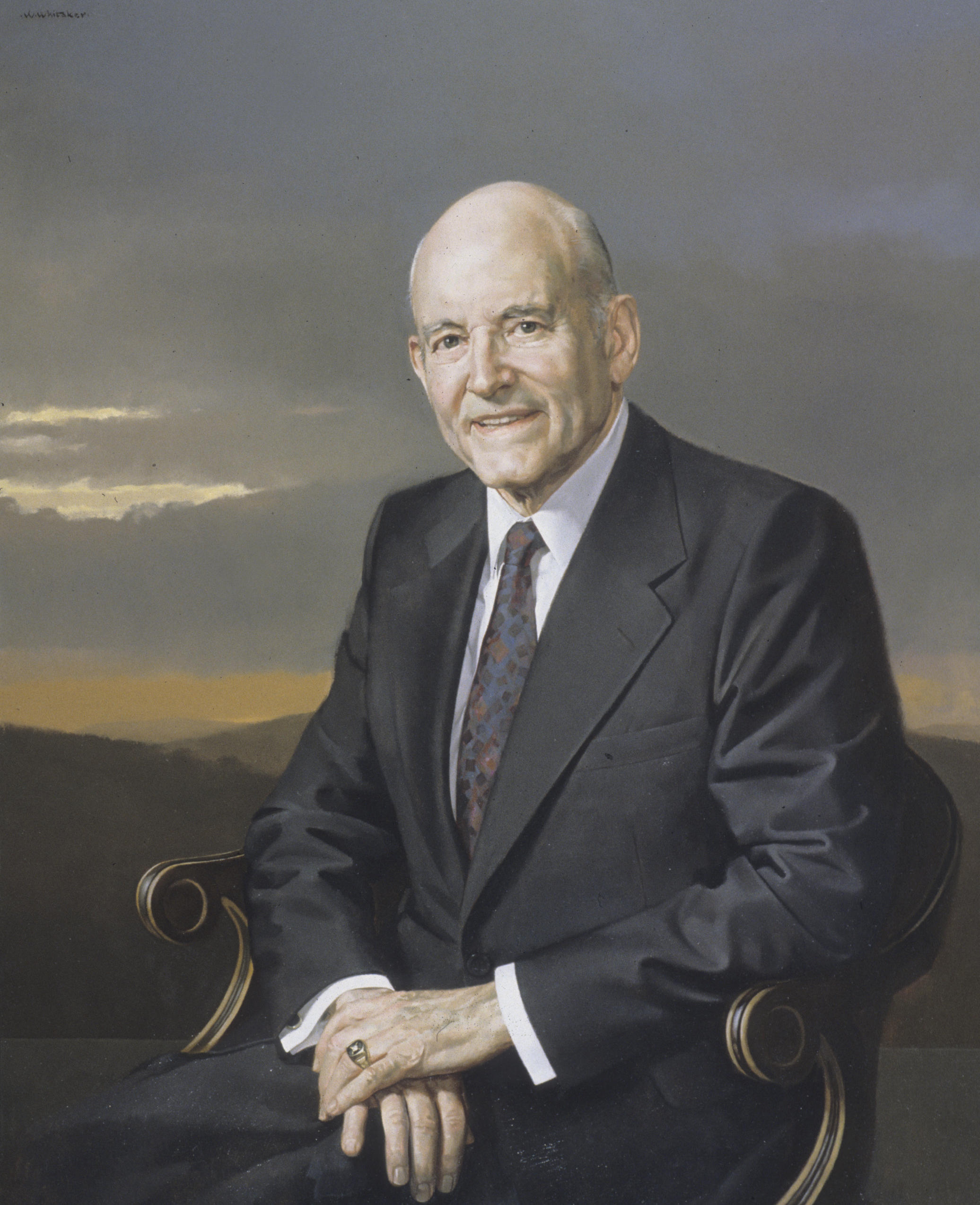 A portrait of Howard W. Hunter, who was the 14th President of the Church from 1994 to 1995; painted by William F. Whitaker Jr.