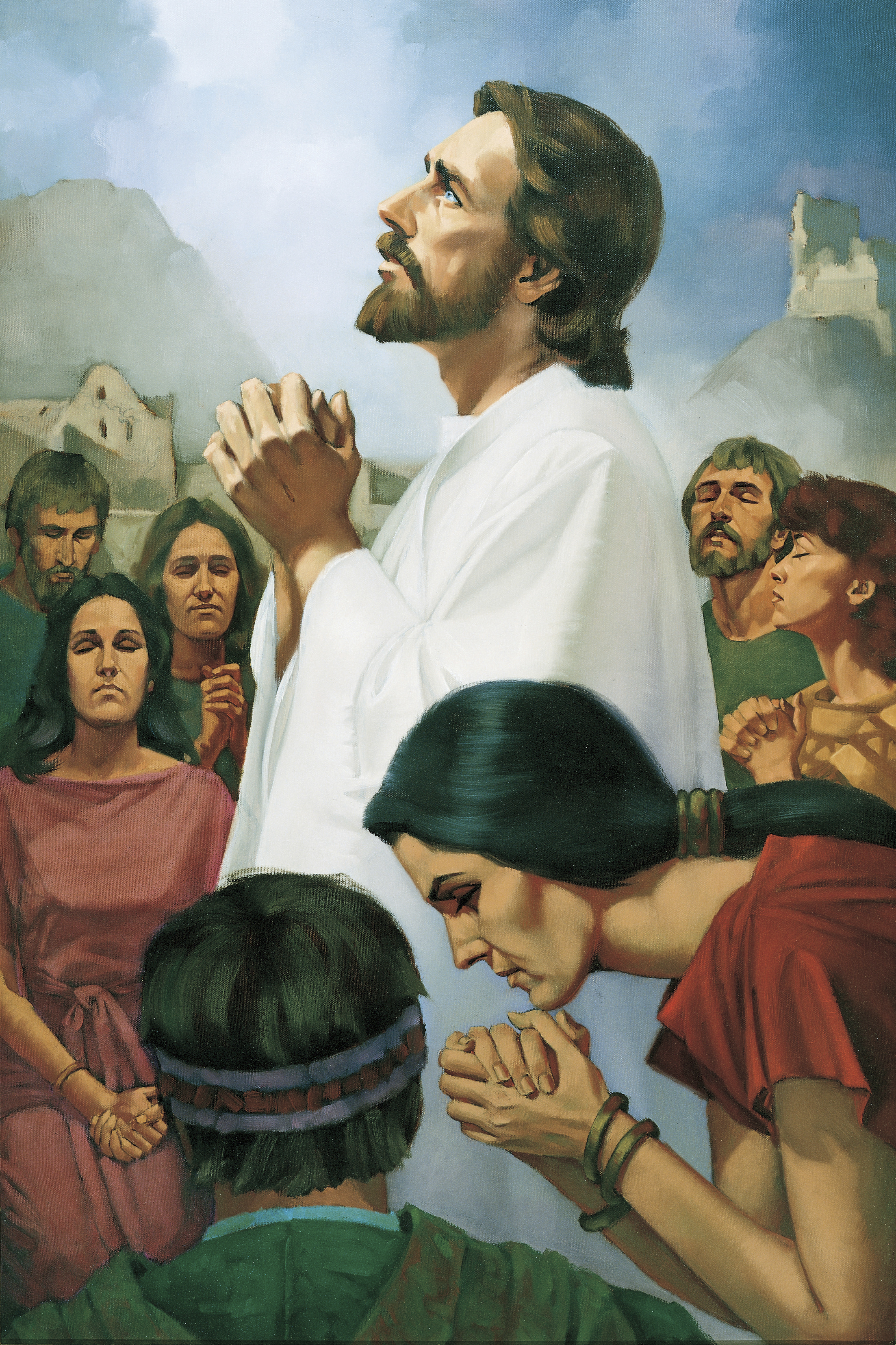 Christ Praying with the Nephites, by Ted Henninger