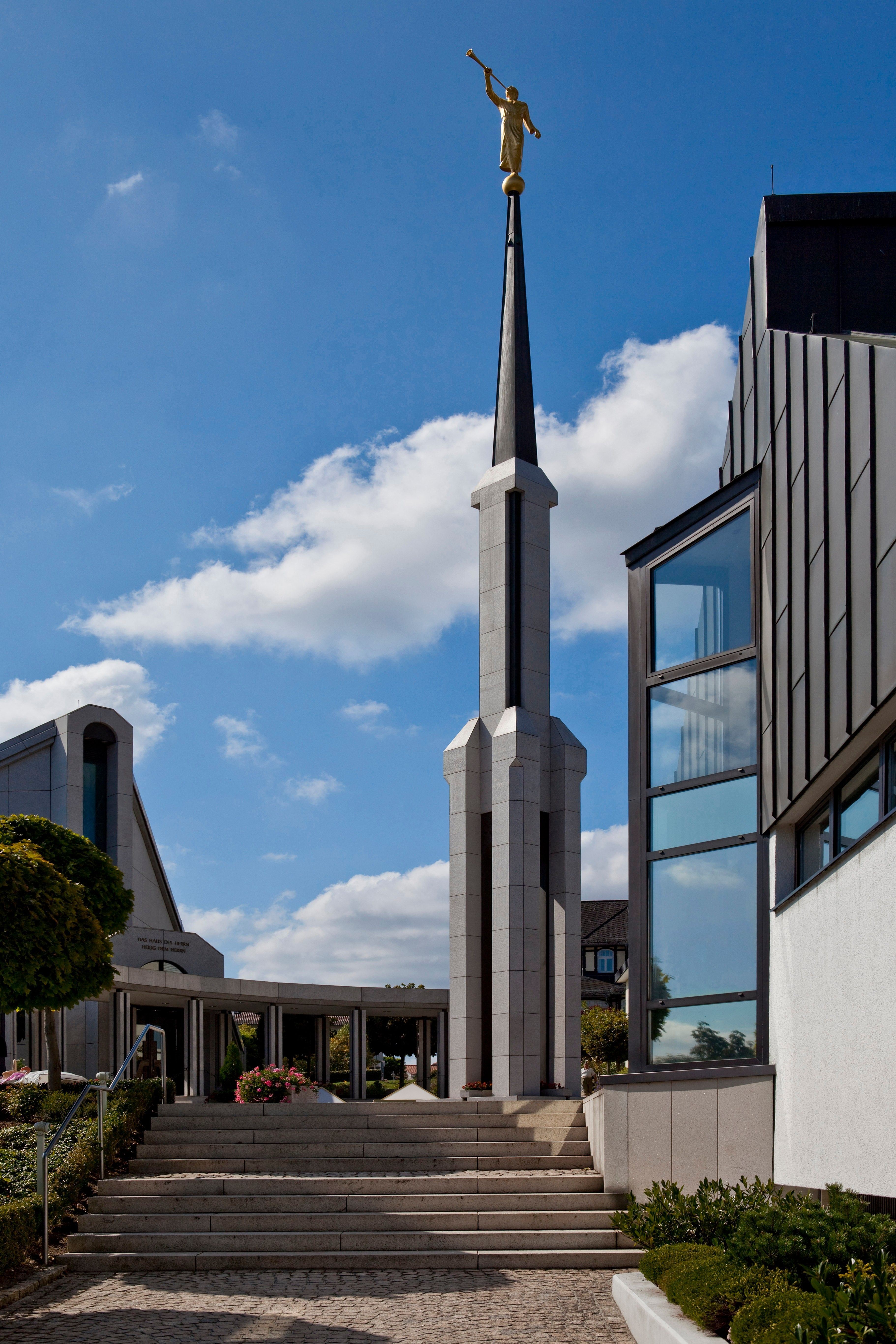A portrait view of the entrance of the Frankfurt Germany Temple.