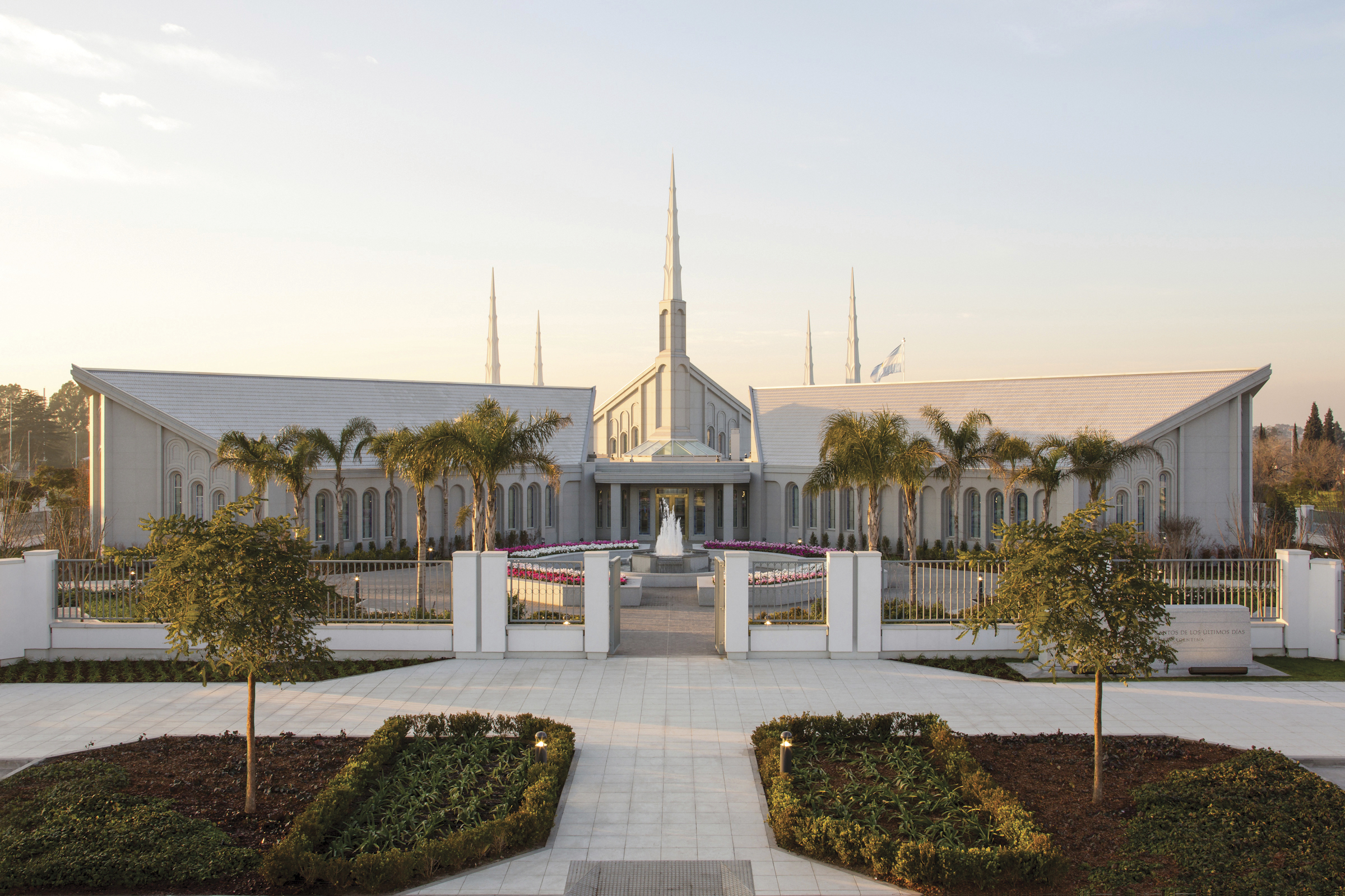 A view of the Buenos Aires Argentina Temple and grounds from afar.