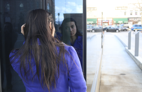 A woman's reflection.